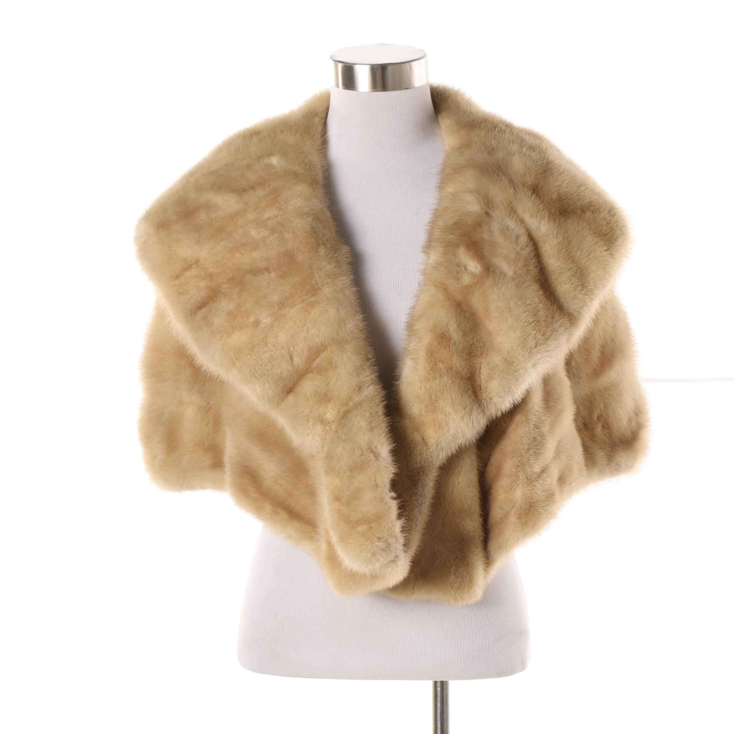 Women's Vintage Kasnow Furs of Chicago Blonde Mink Fur Stole