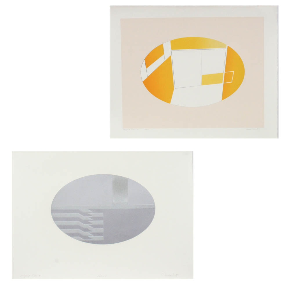 "Donald Roberts 1976 Embossed Serigraph Prints on Paper ""Ellipsoid"""