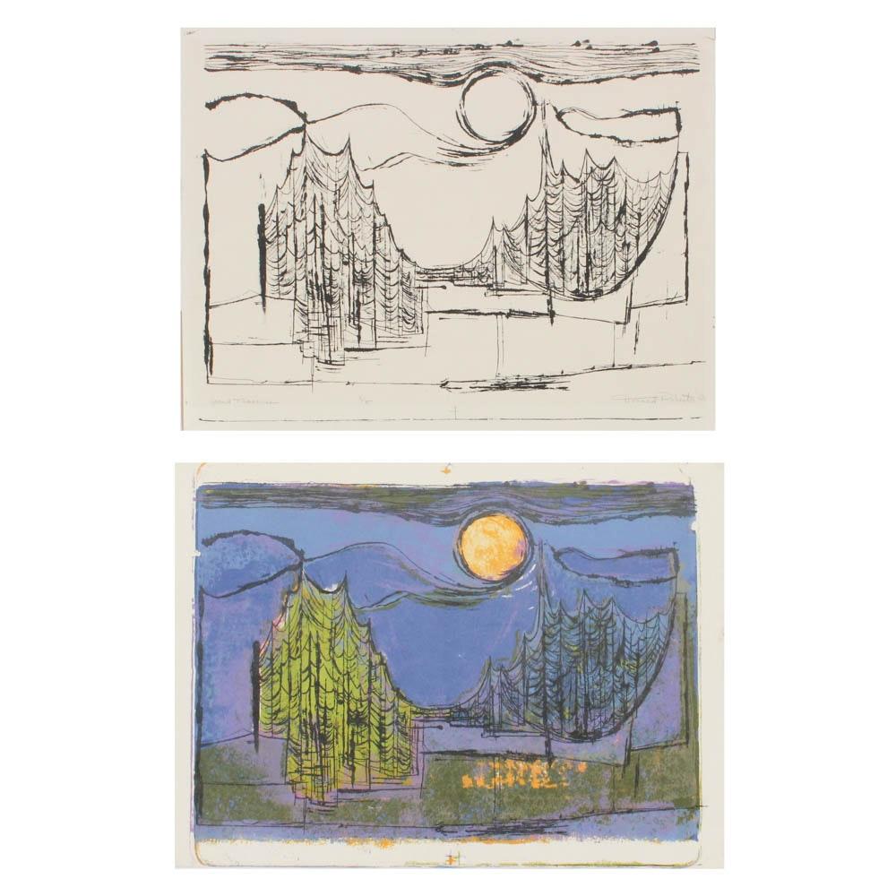 "Donald Roberts 1956 Woodcuts on Paper ""Grand Traverse"""