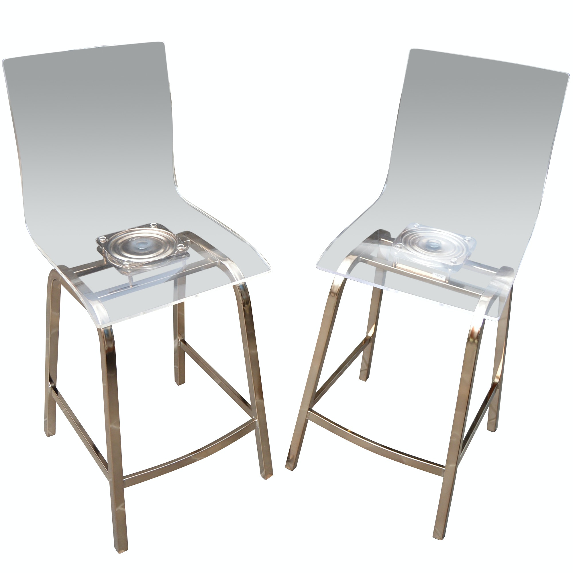 Pair of Contemporary Lucite Bar Stools