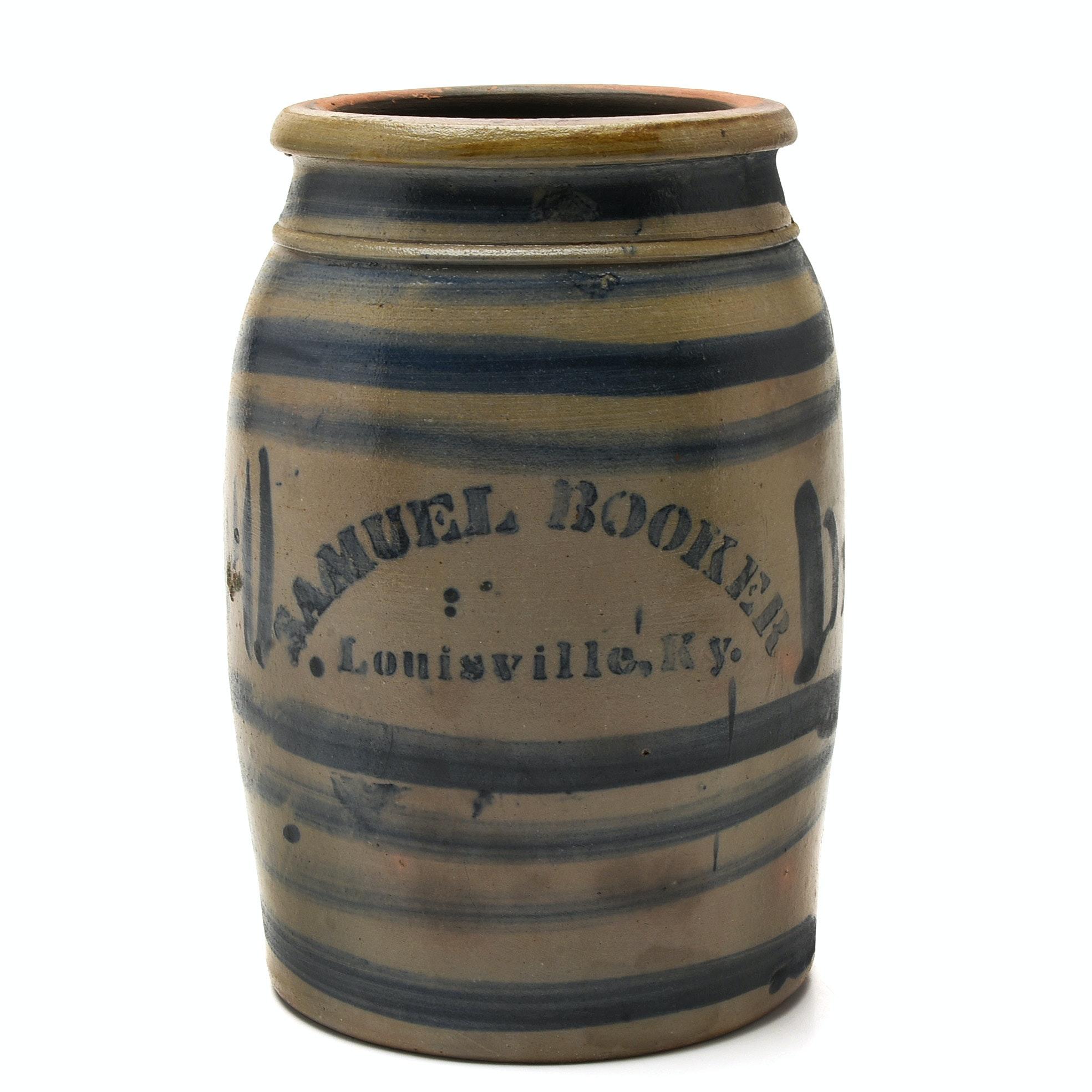 Samuel Booker 19th Century Kentucky Cobalt Decorated Stoneware Jar