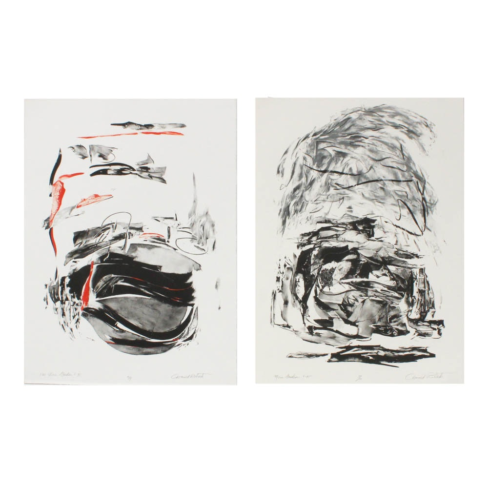 """Donald Roberts 1995 Lithographic Prints """"One Stone Garden"""" and """"Mesa Garden"""""""