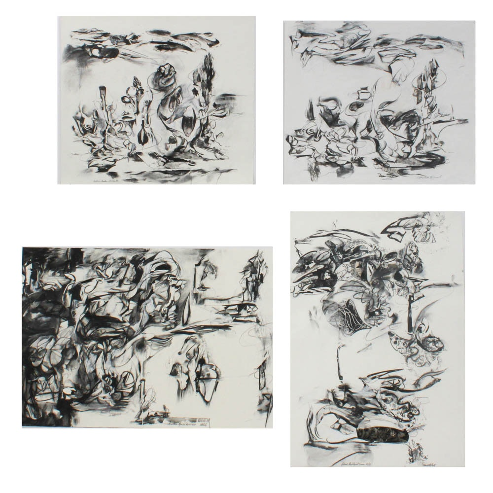 Donald Roberts 1980s Grey Scale Abstract Mixed Media Paintings