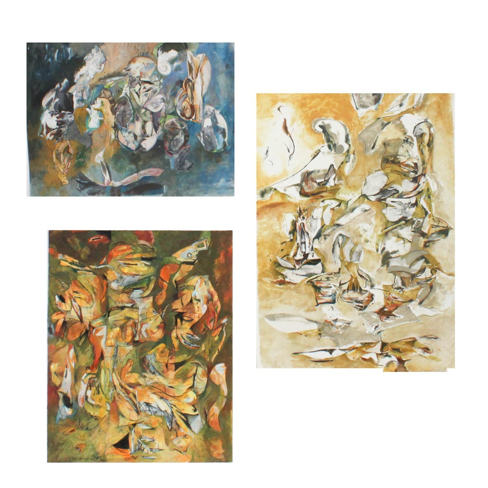 Donald Roberts 1990s Mixed Media Abstract Paintings on Paper