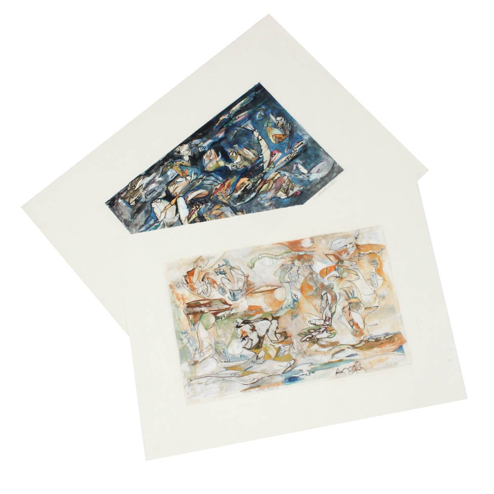 """Donald Roberts 1990s Mixed Media Works """"Island Sea Grotto"""" and """"Garden Fragment"""""""