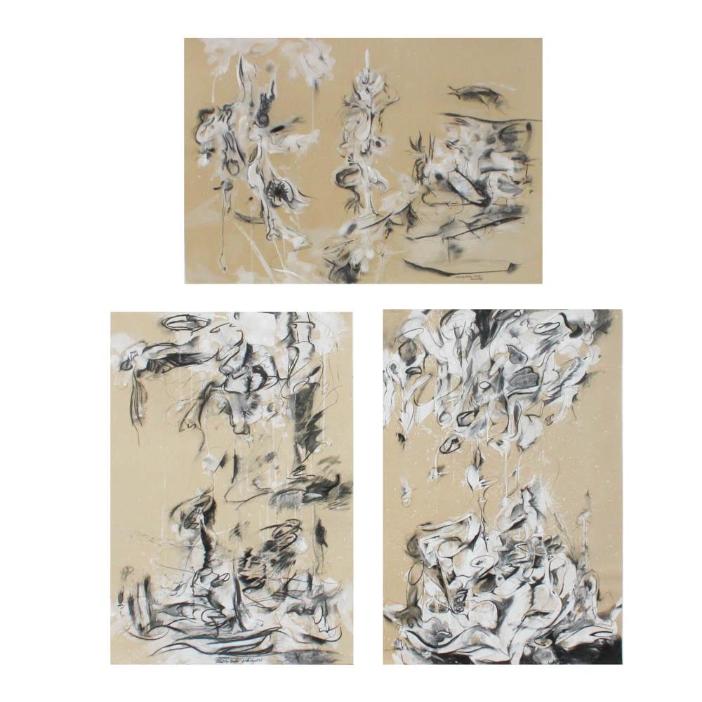 "Donald Roberts 1980s Mixed Media Paintings ""Island Sky Garden"""