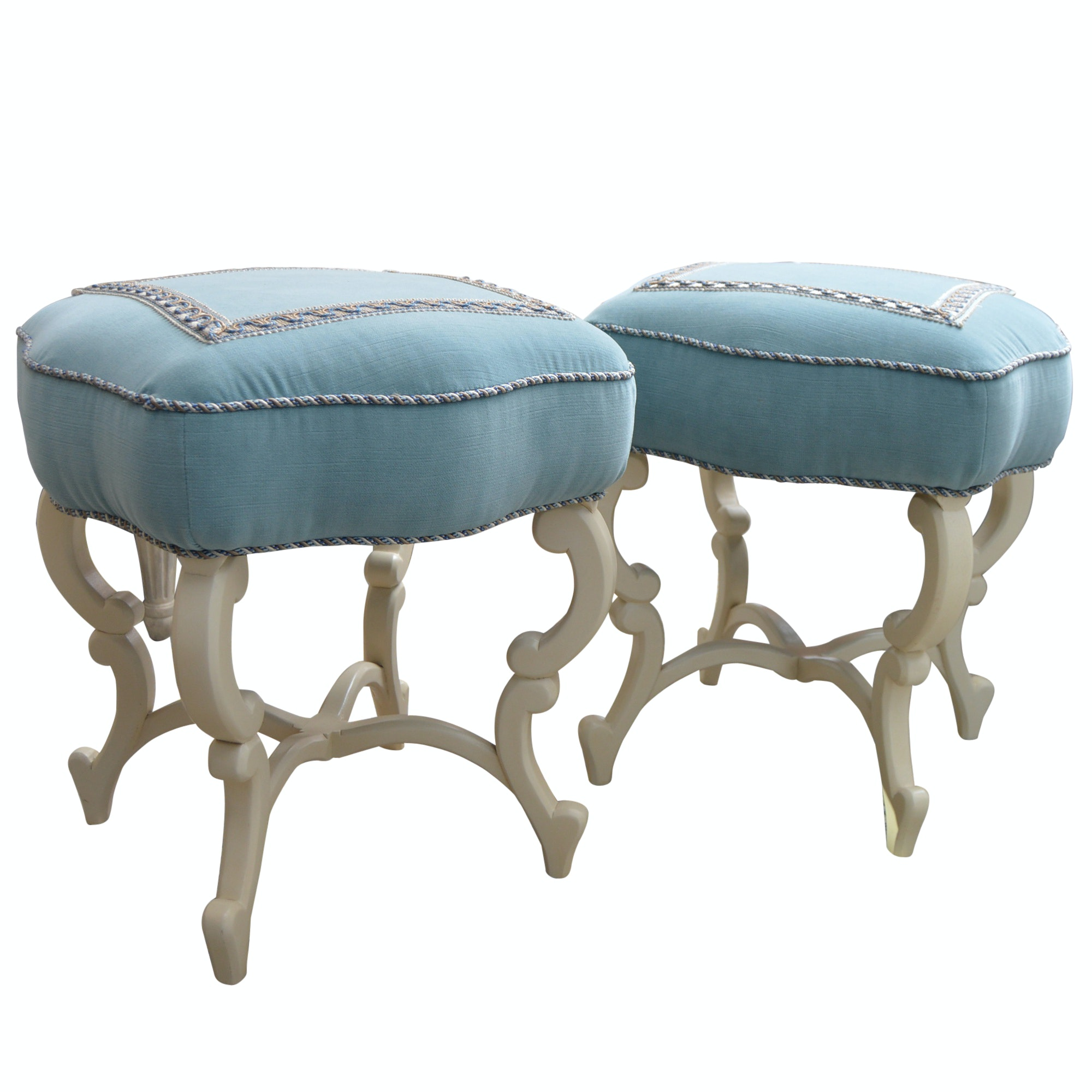 "Pair of Blue Velvet-Upholstered ""Anastasia"" Benches from Hickory"