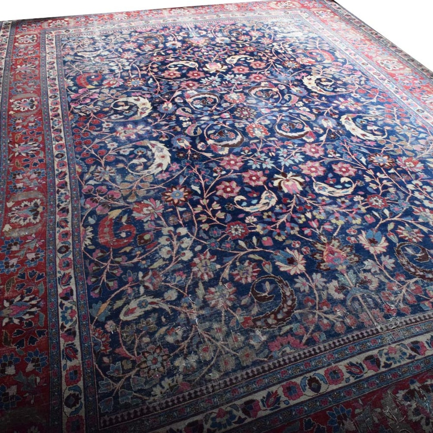 Semi-Antique Hand-Knotted Persian Tabriz Wool Area Rug