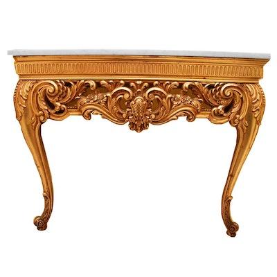 Italian Rococo Marble Top Console Table