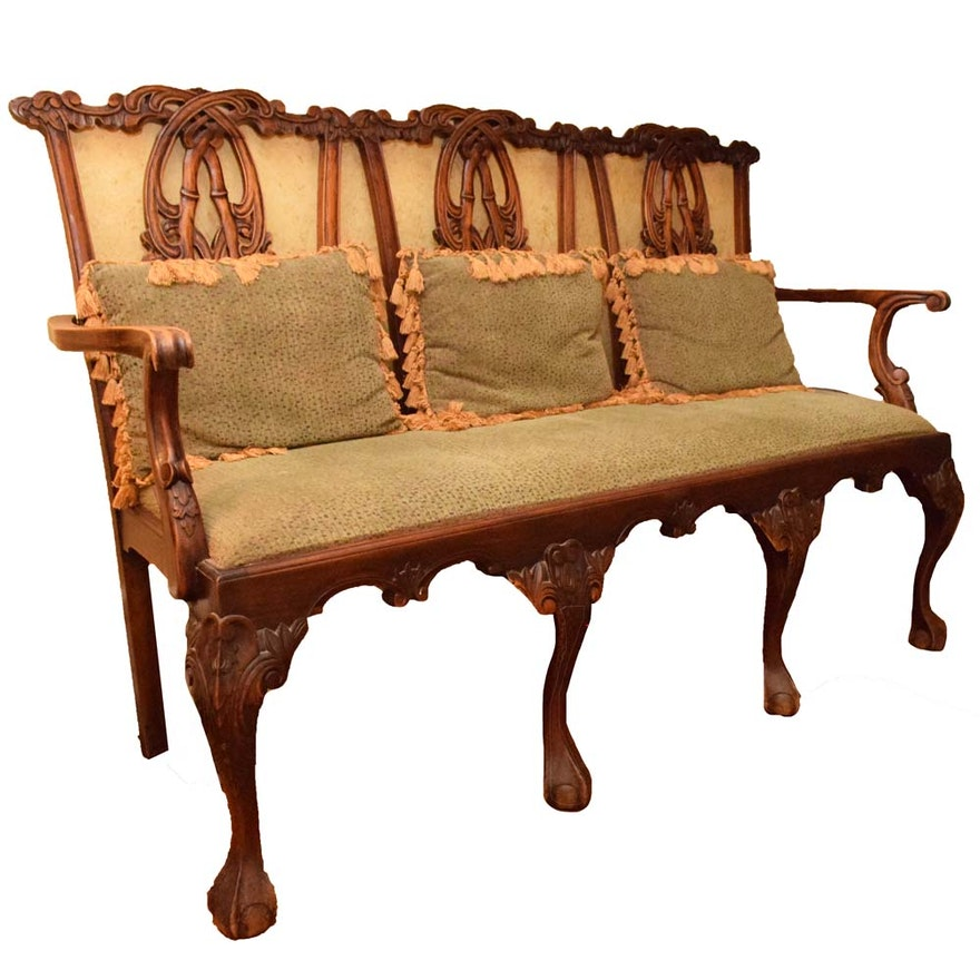 Vintage Chippendale Style Triple Back Settee