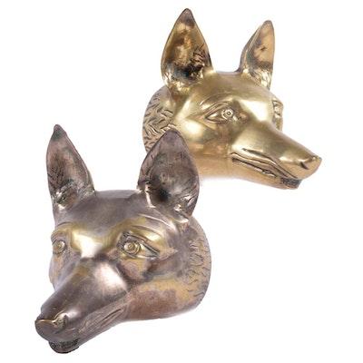 Indian Brass Fox Head Bookends