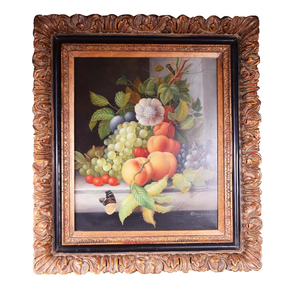 H. Branson Still Life Oil Painting on Canvas