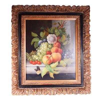 H. Branson Still Life Oil Painting on Canvas