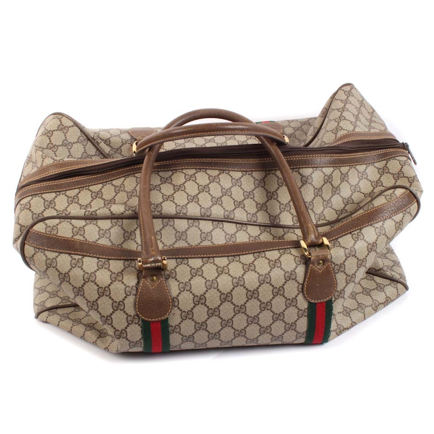 2e23002346d9 Vintage Gucci GG Supreme Canvas and Leather Weekender Bag | EBTH