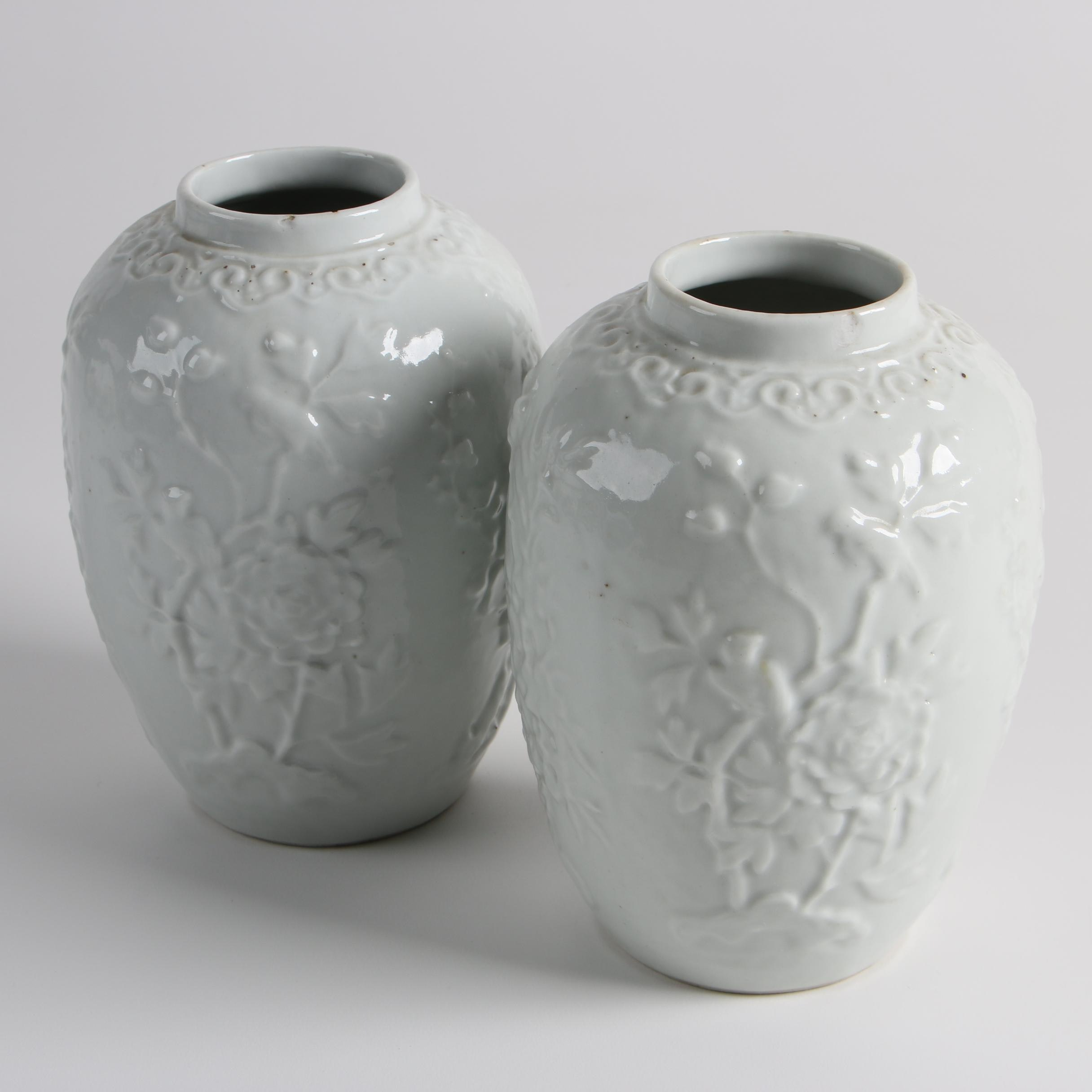 Chinese Blanc de Chine Prunus Vases