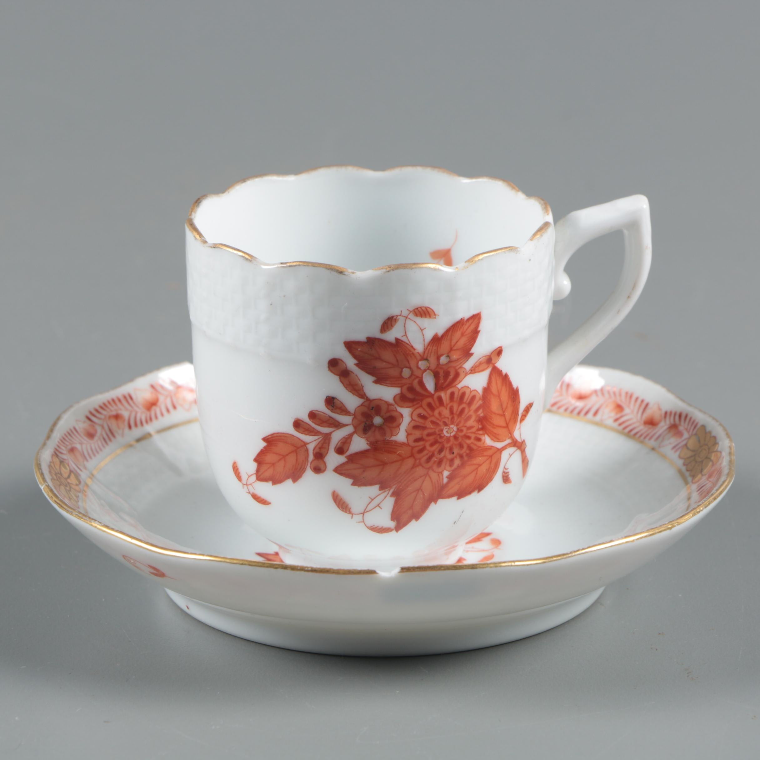 """Herend Hungary """"Chinese Bouquet Rust"""" Porcelain Teacup and Saucer"""