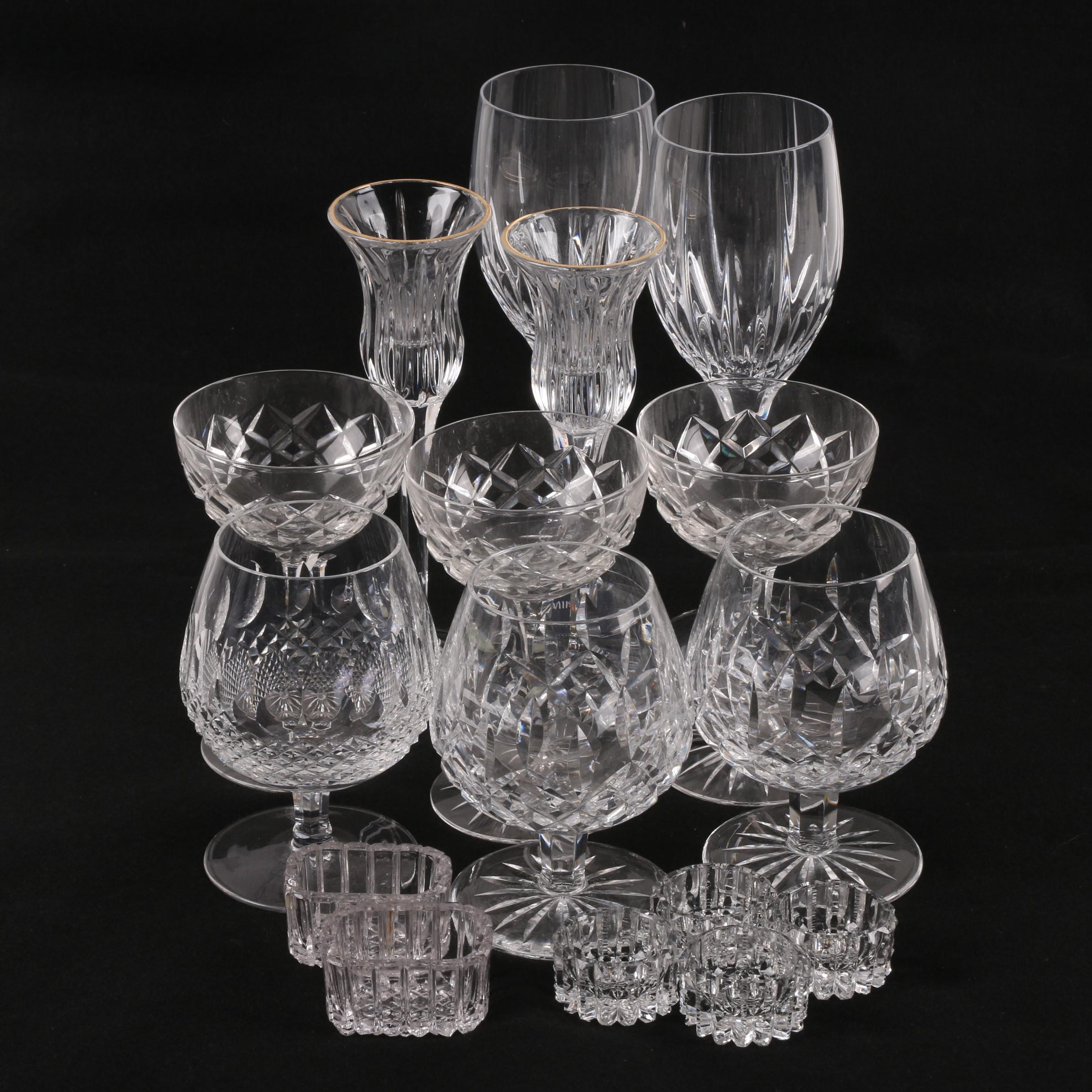 Waterford Crystal Brandy Snifters with Mikasa Crystal Stemware and Salt Cellars