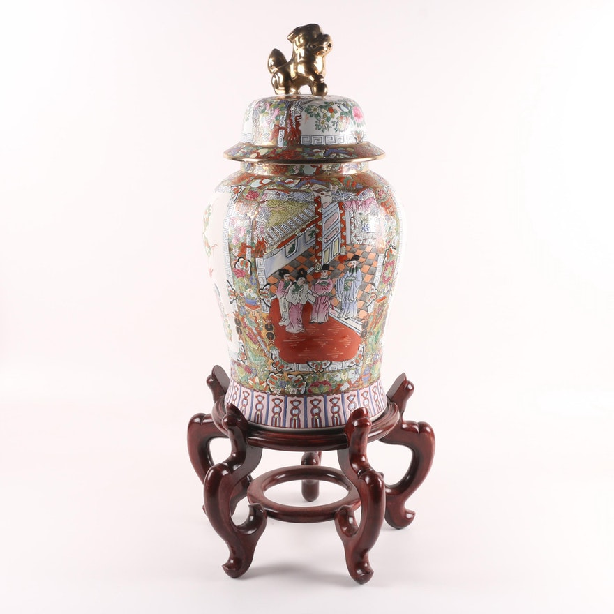 Chinese Hand Painted Quot Rose Medallion Quot Porcelain Ginger Jar