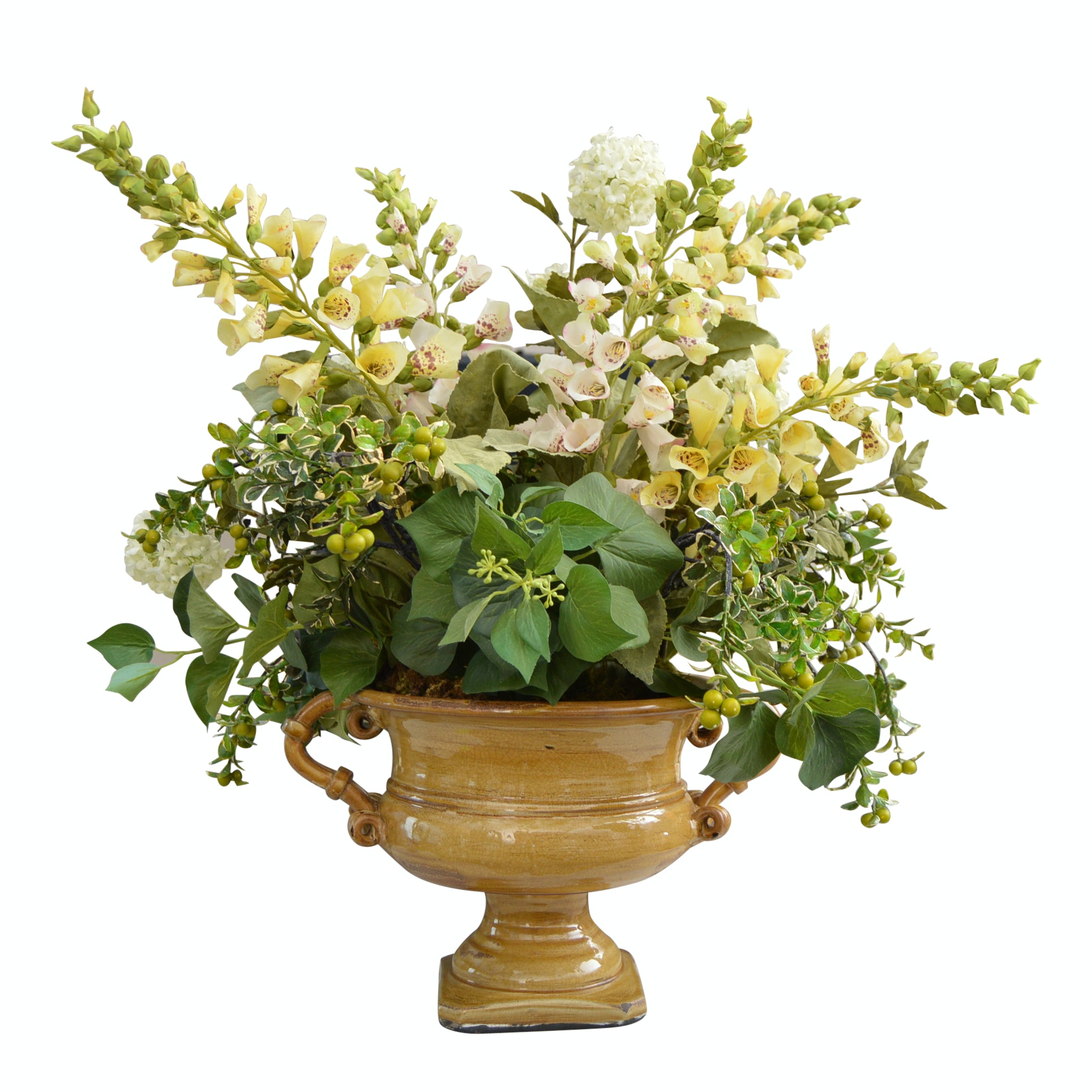 Pottery Urn with Custom Floral Arrangement