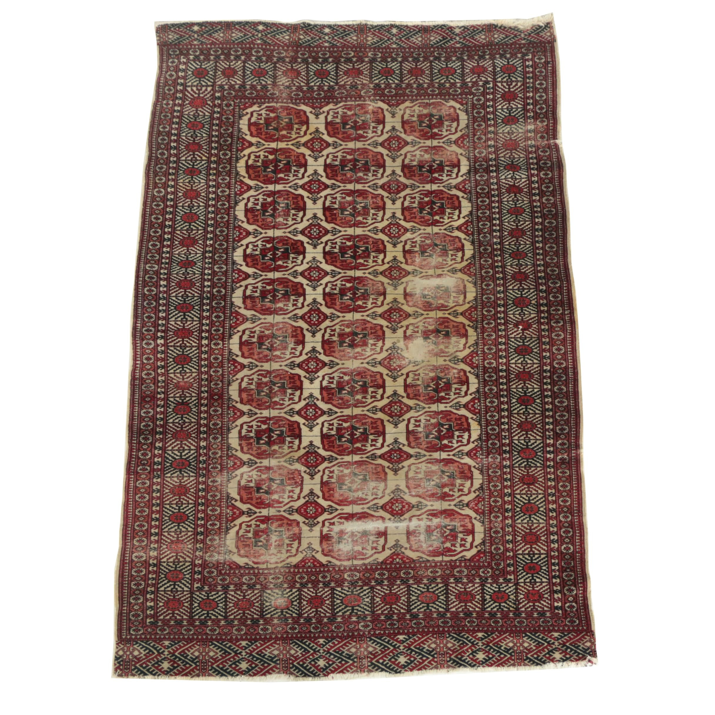 Vintage Hand-Knotted Turkmen Bokhara Wool Area Rug