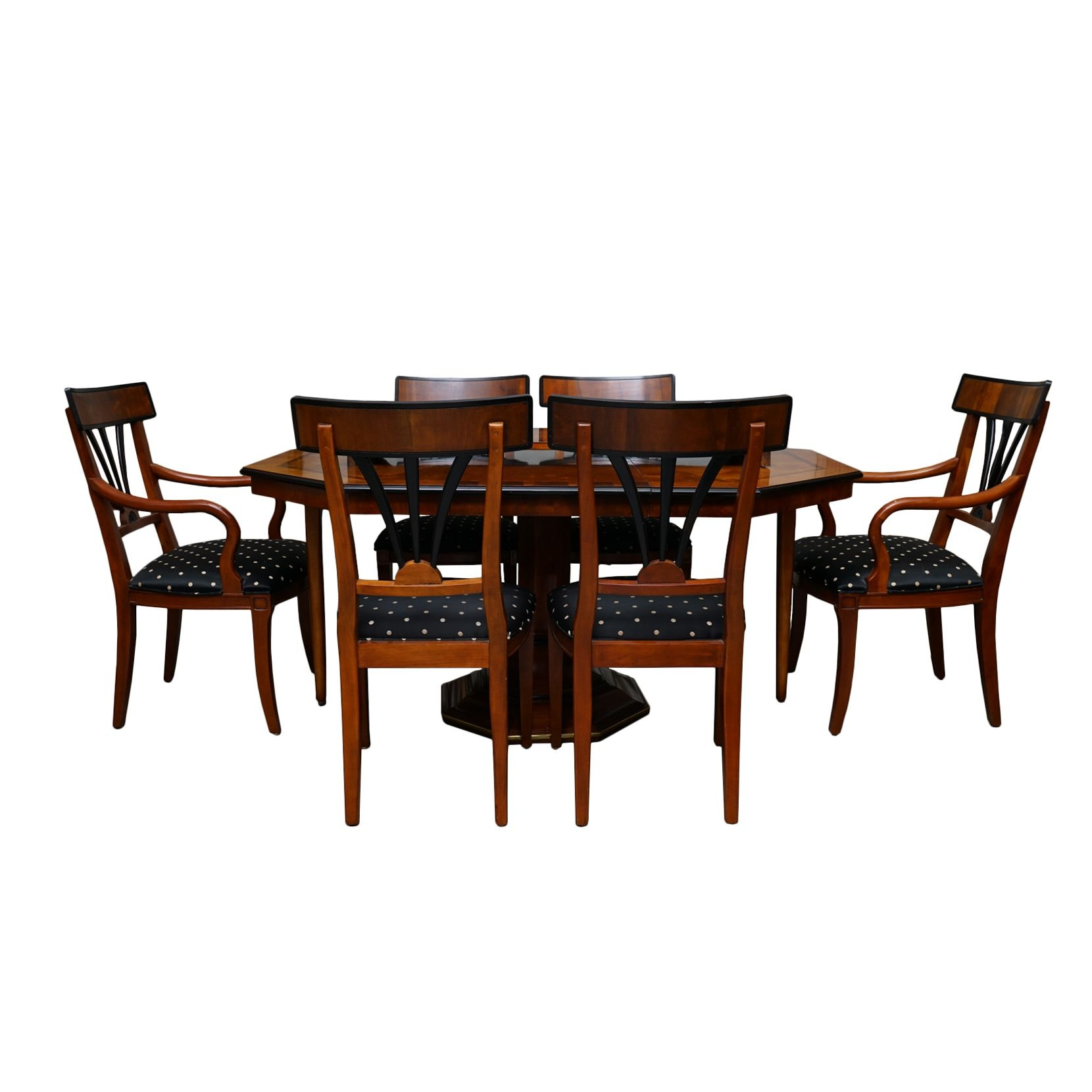 Art Deco Style Octagonal Dining Table with Klismos Chairs