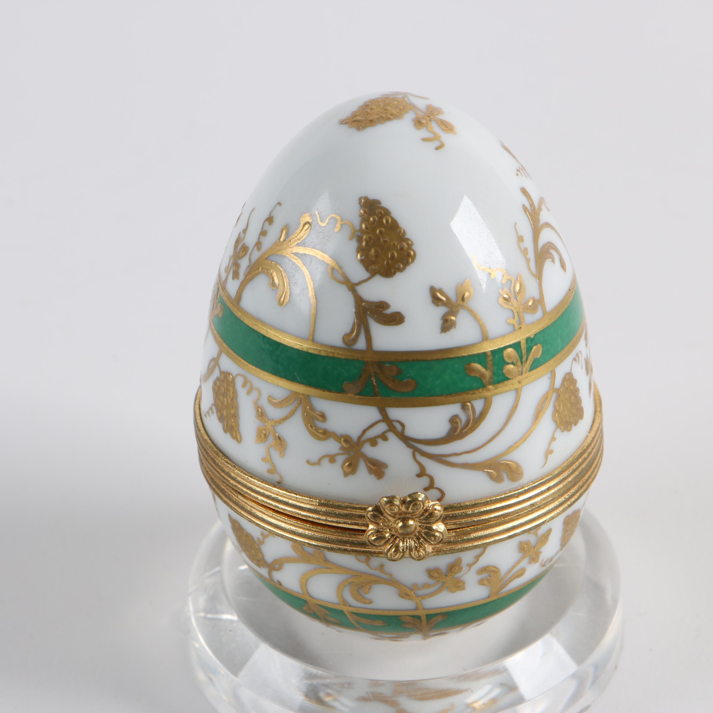 Le Tallec for Tiffany & Co. French Porcelain Egg Shaped Trinket Box
