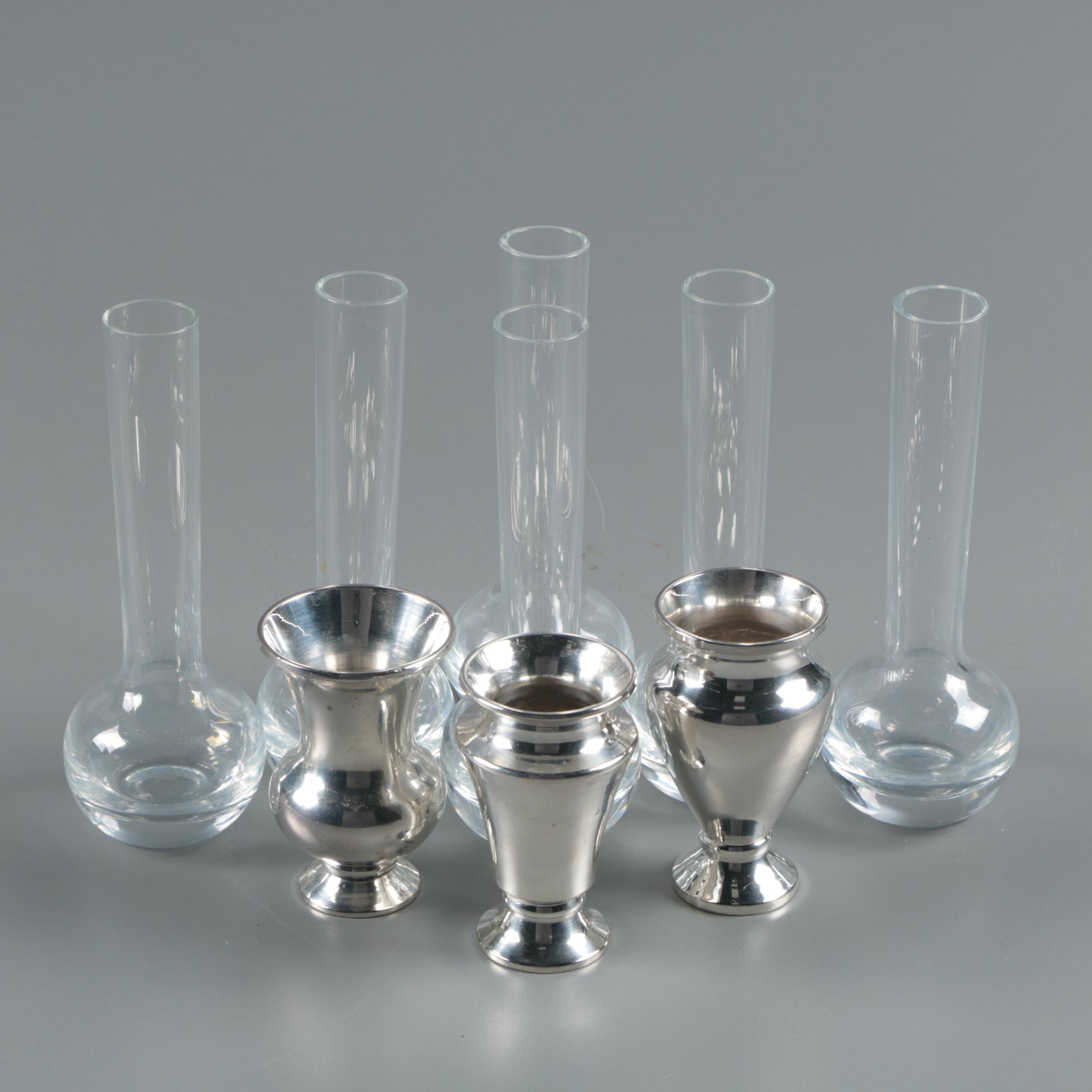 Glass and Silver Plate Bud Vases