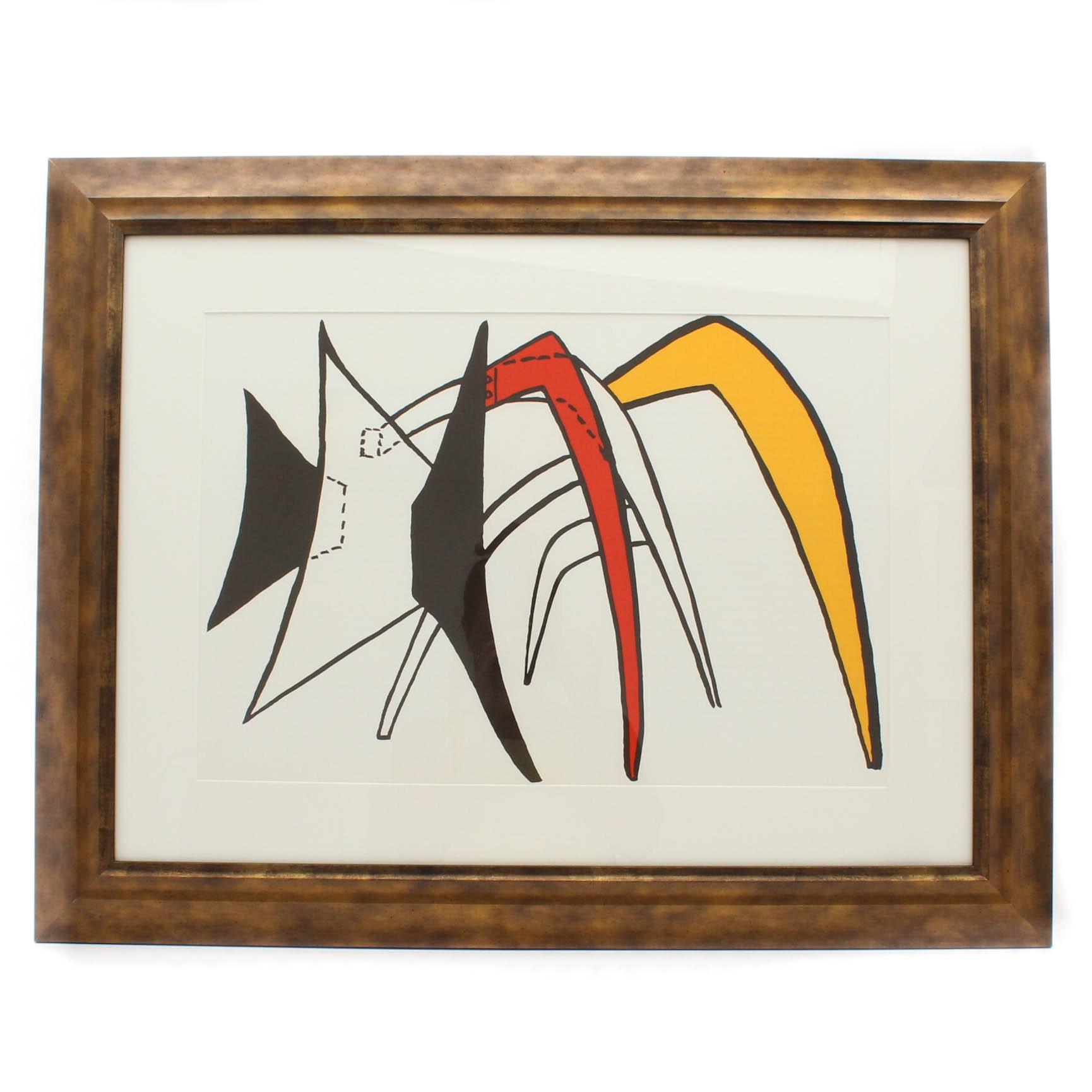 """Alexander Calder Double Page Color Lithograph for """"Derriere Le Miroir"""" #141"""