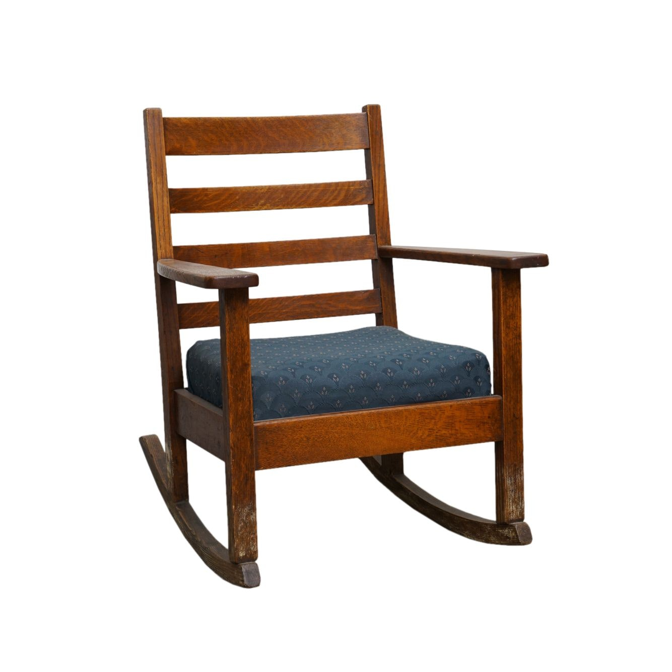 Vintage Oak Mission Style Ladder Back Rocking Chair