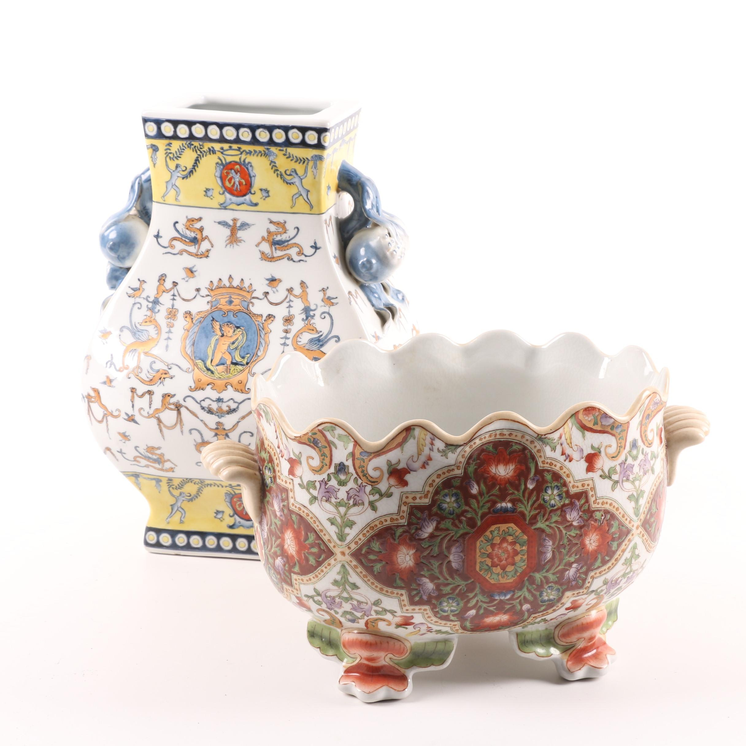 Chinese Monteith Bowl and Armorial Vase