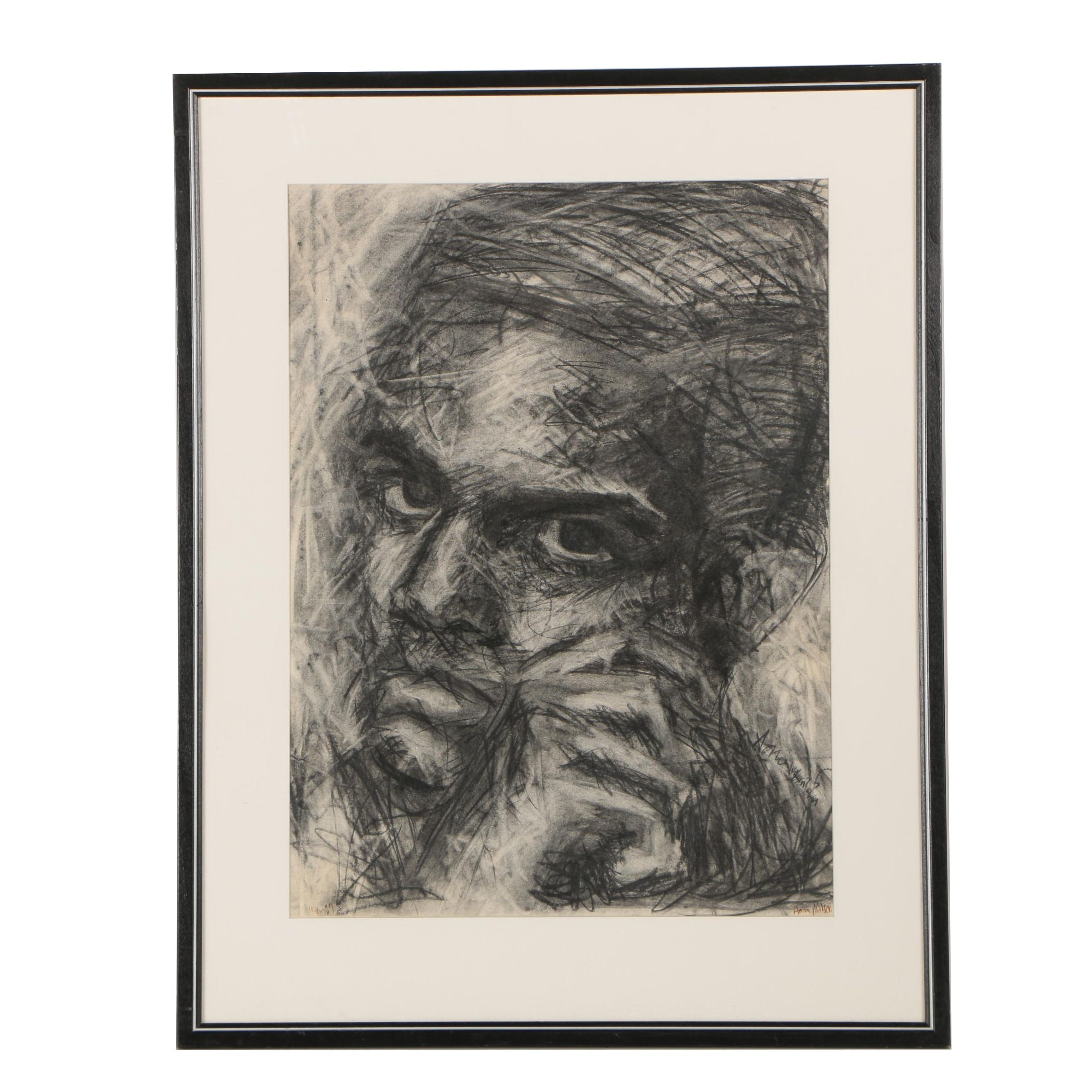 1989 Aaron Wilson Charcoal Drawing