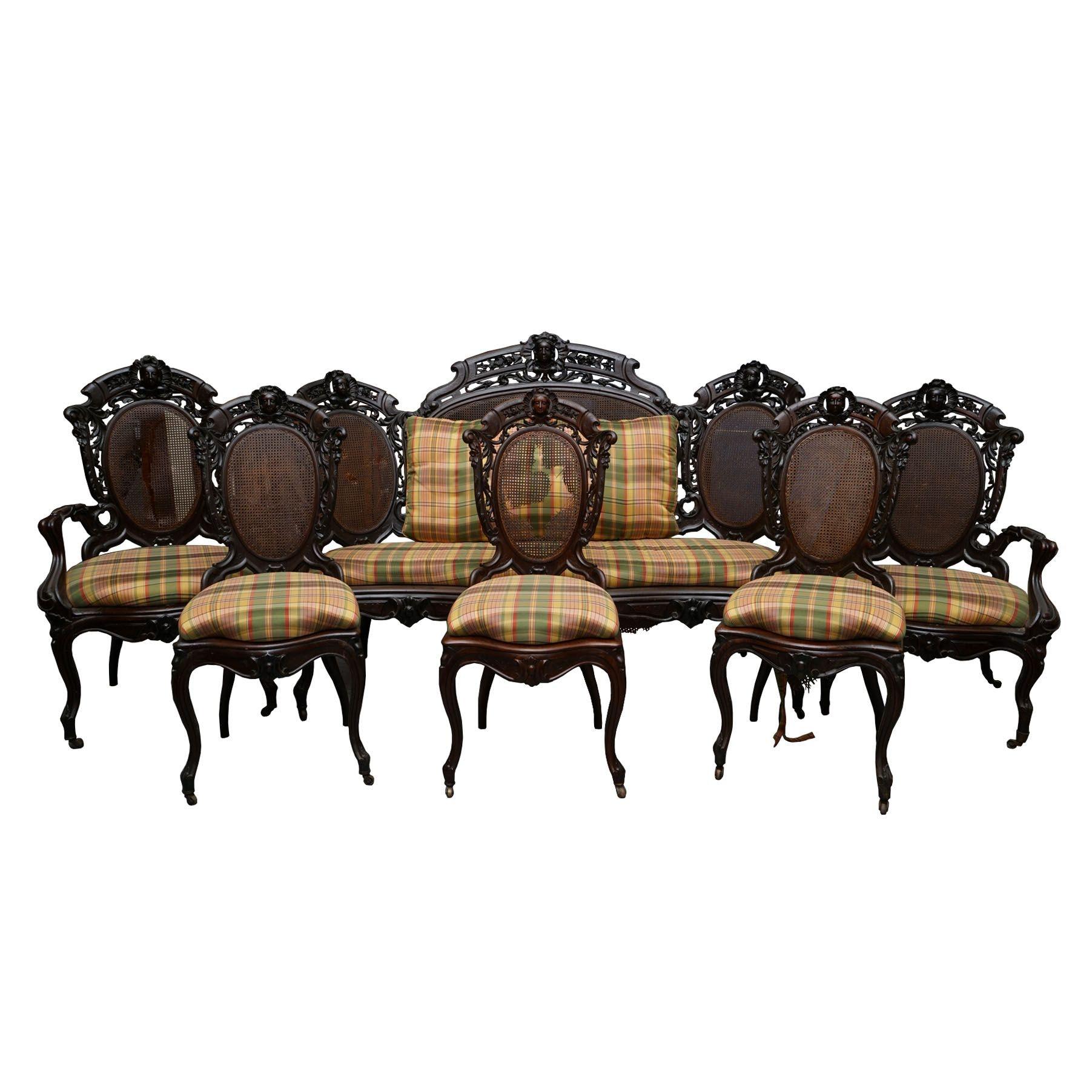 Six Piece Victorian Rosewood Parlor Suite