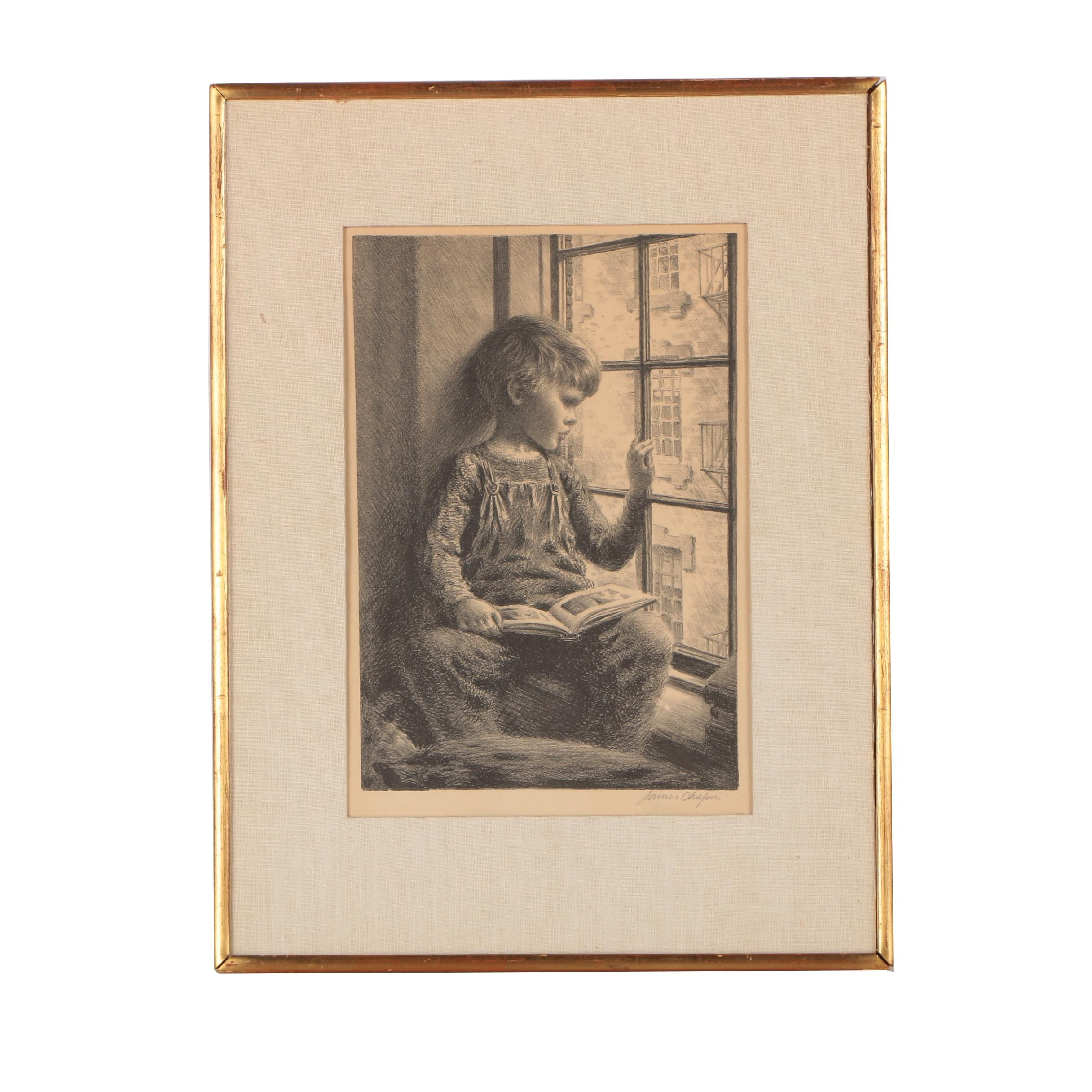 "James Chapin Lithograph ""Boy With Book Looking Out Window"""