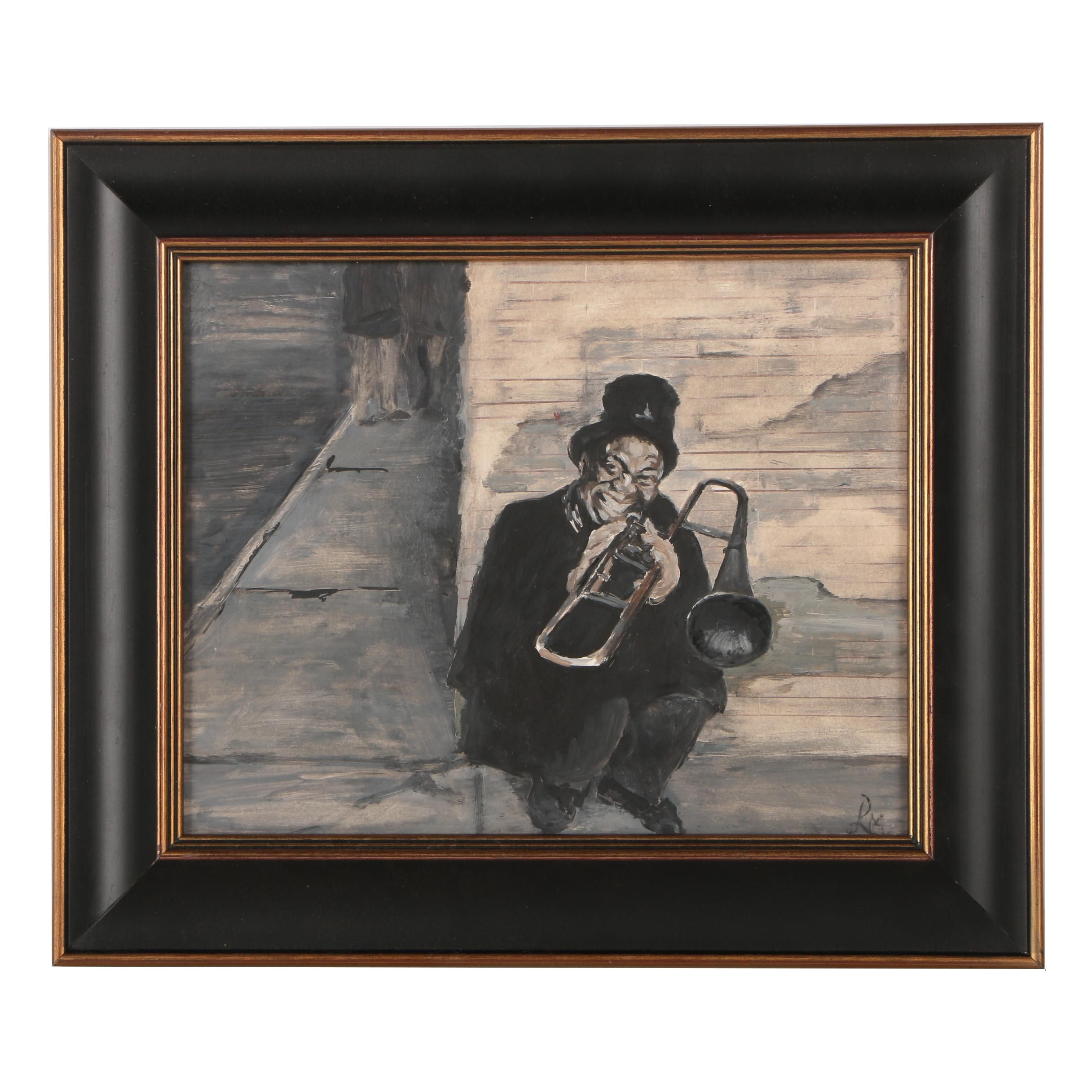 Contemporary Oil Painting of Trombone Player