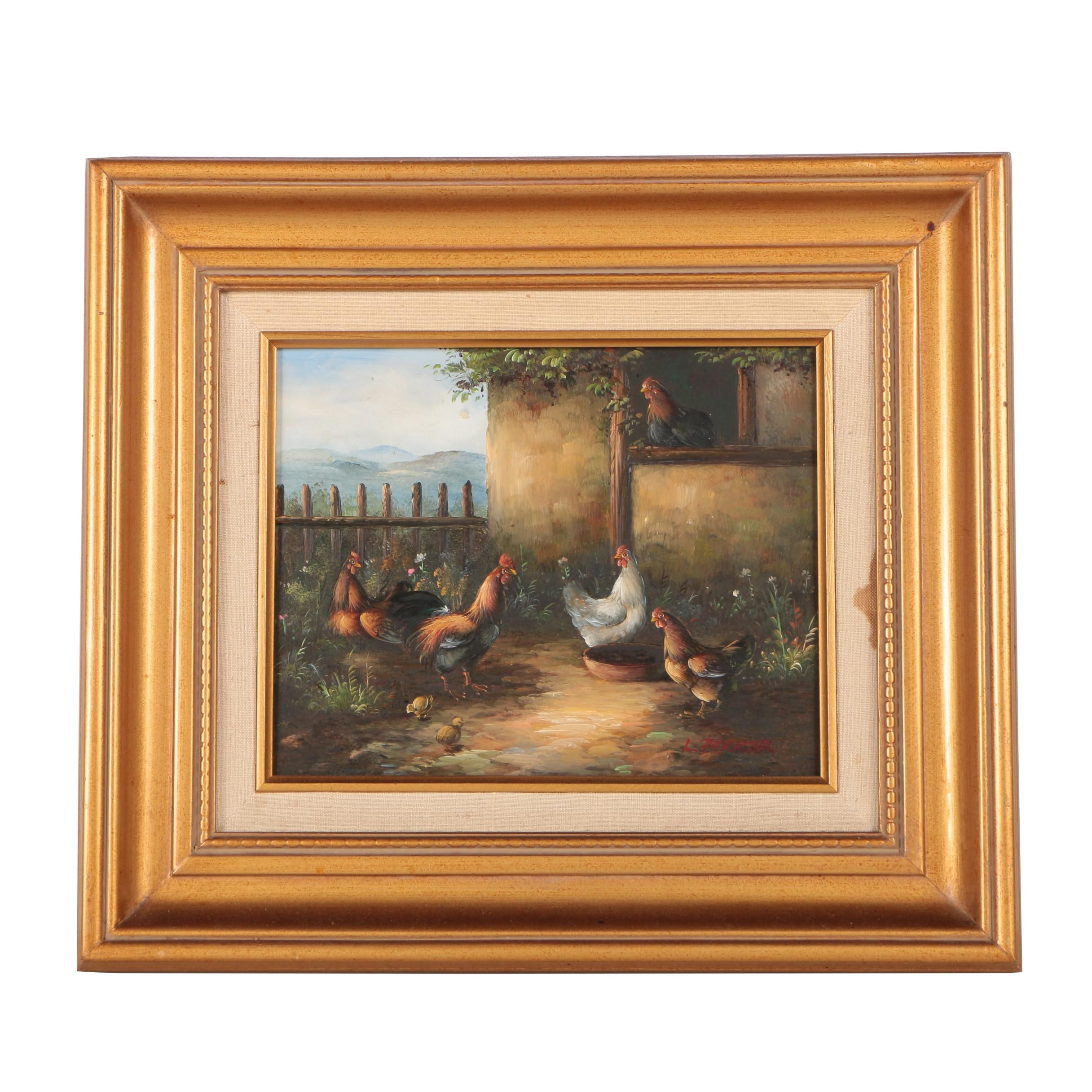 L. Parker Oil Painting of Farm Scene with Chickens