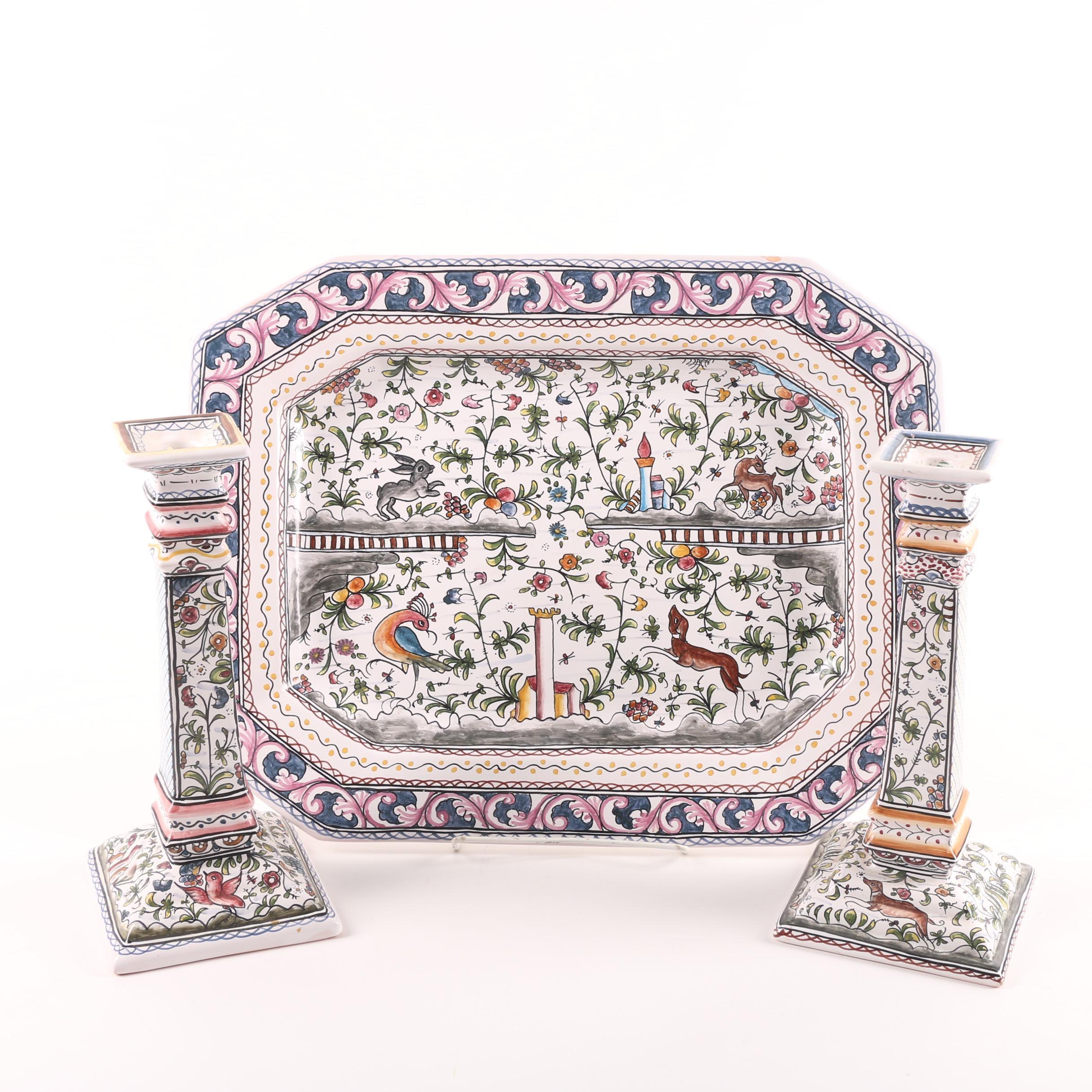 Estrela de Conimbriga Portuguese Hand-Painted Platter and Candlesticks