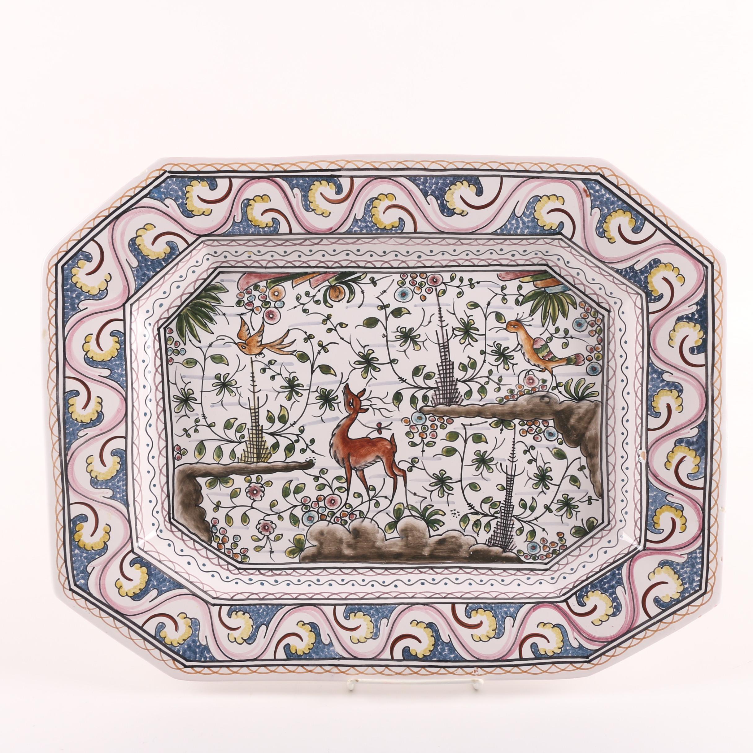 Estrela de Conimbriga Portuguese Hand-Painted Serving Platter