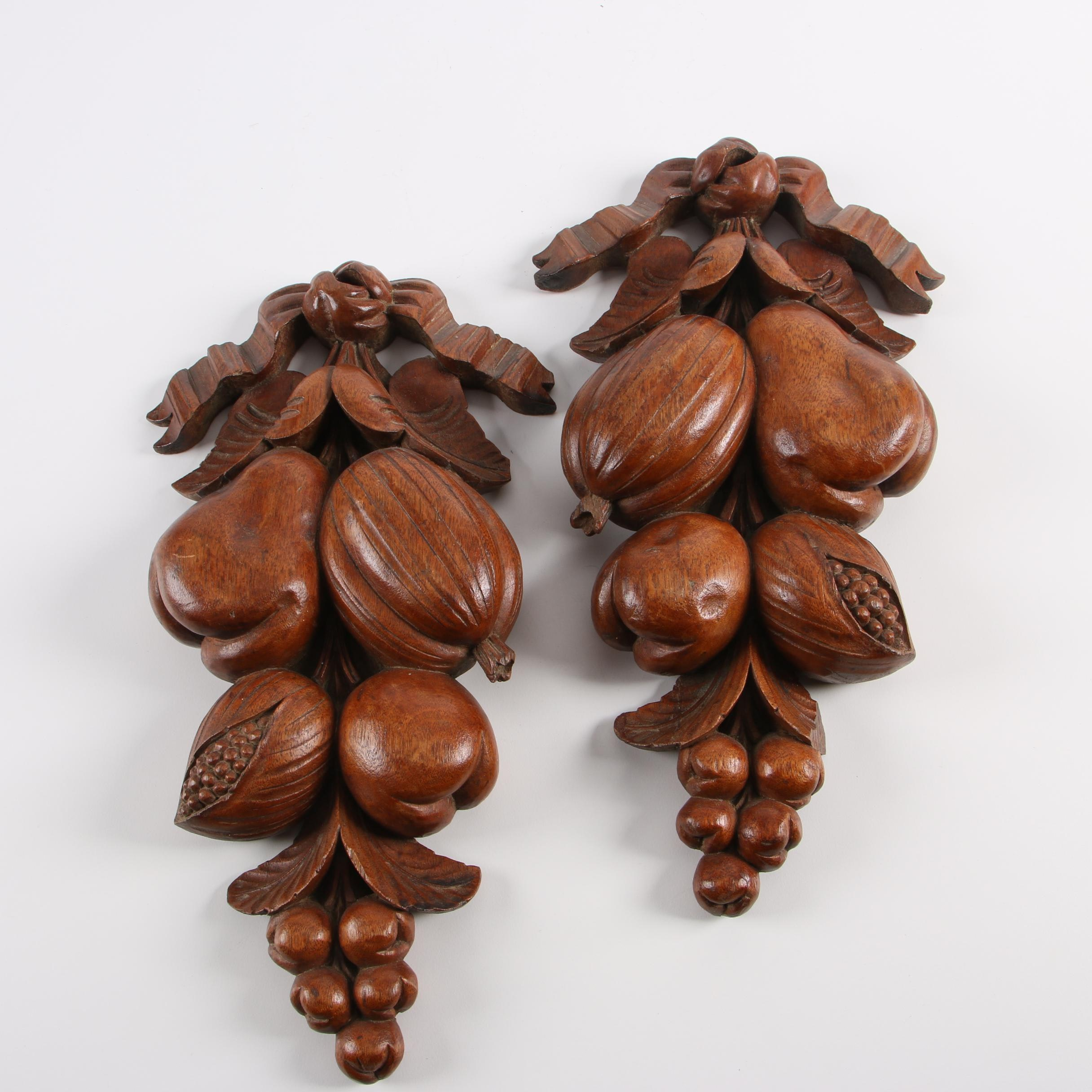 Vintage Carved Wooden Fruit Clusters Wall Décor