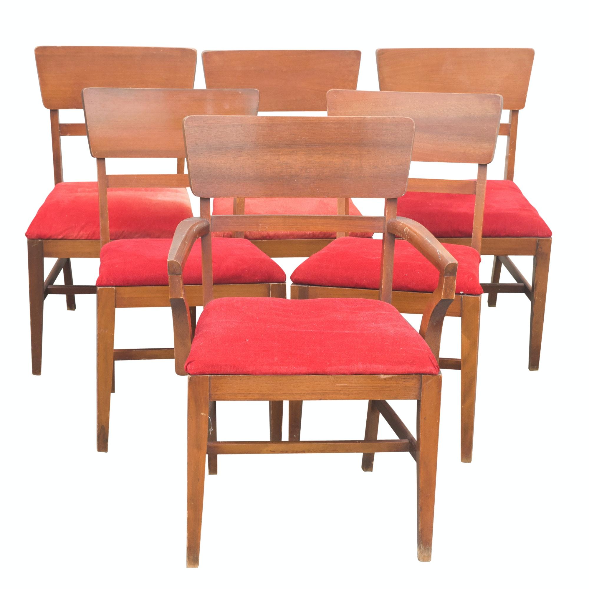 Mid Century Modern Walnut Dining Chair Set