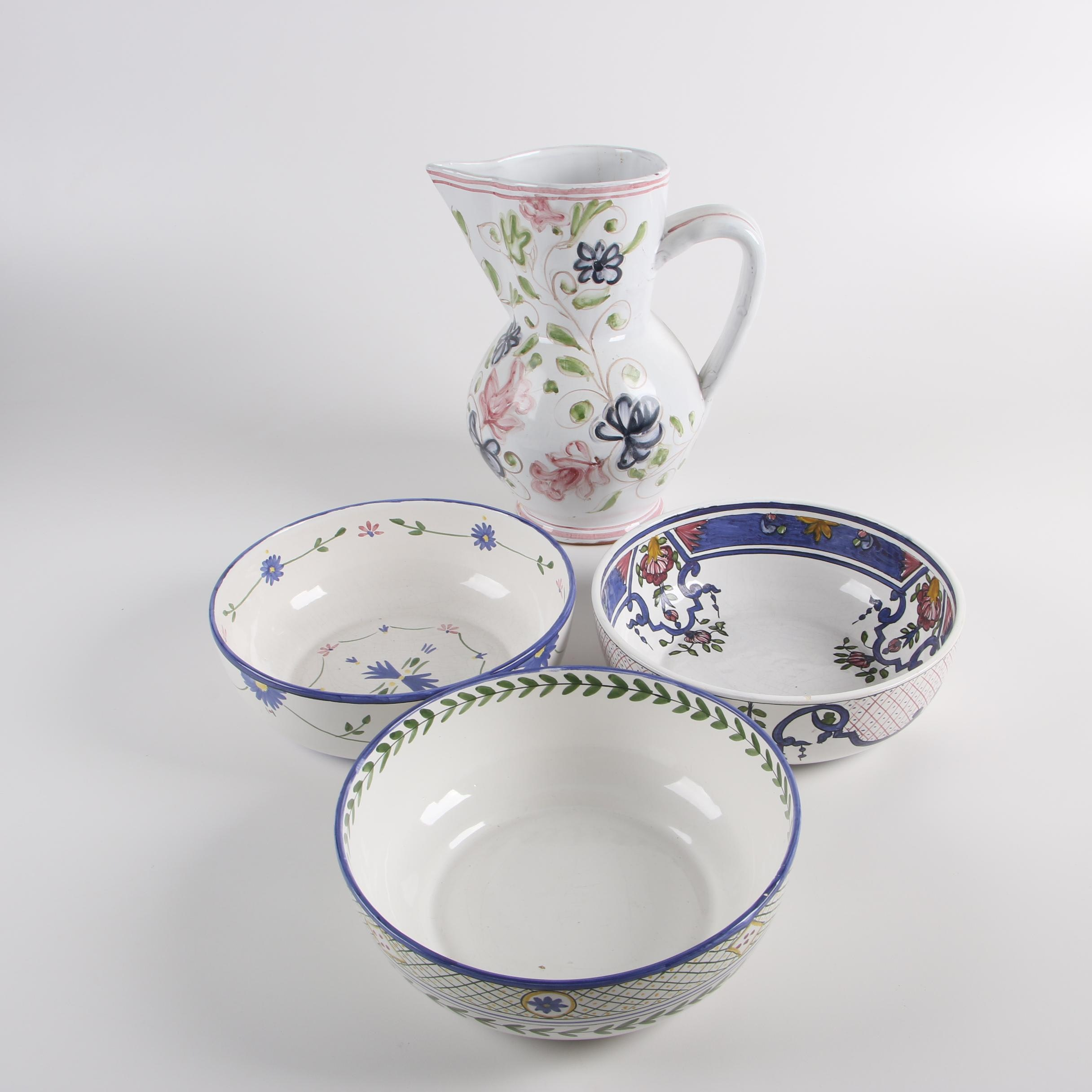 Portuguese Hand-Painted Serving Bowls and Pitcher Including Casafina
