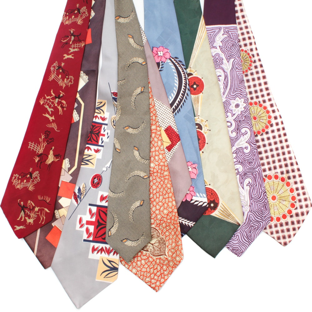 1930s Vintage Silk Tie Collection Featuring Habana