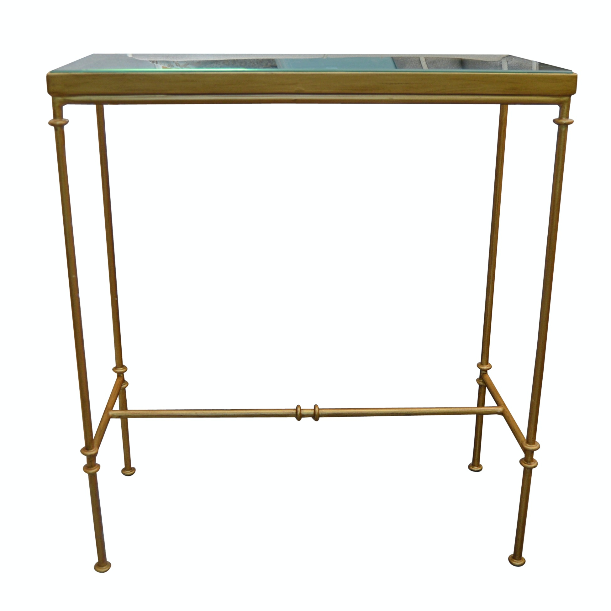 Contemporary Glass Top Gilded Metal Side Table