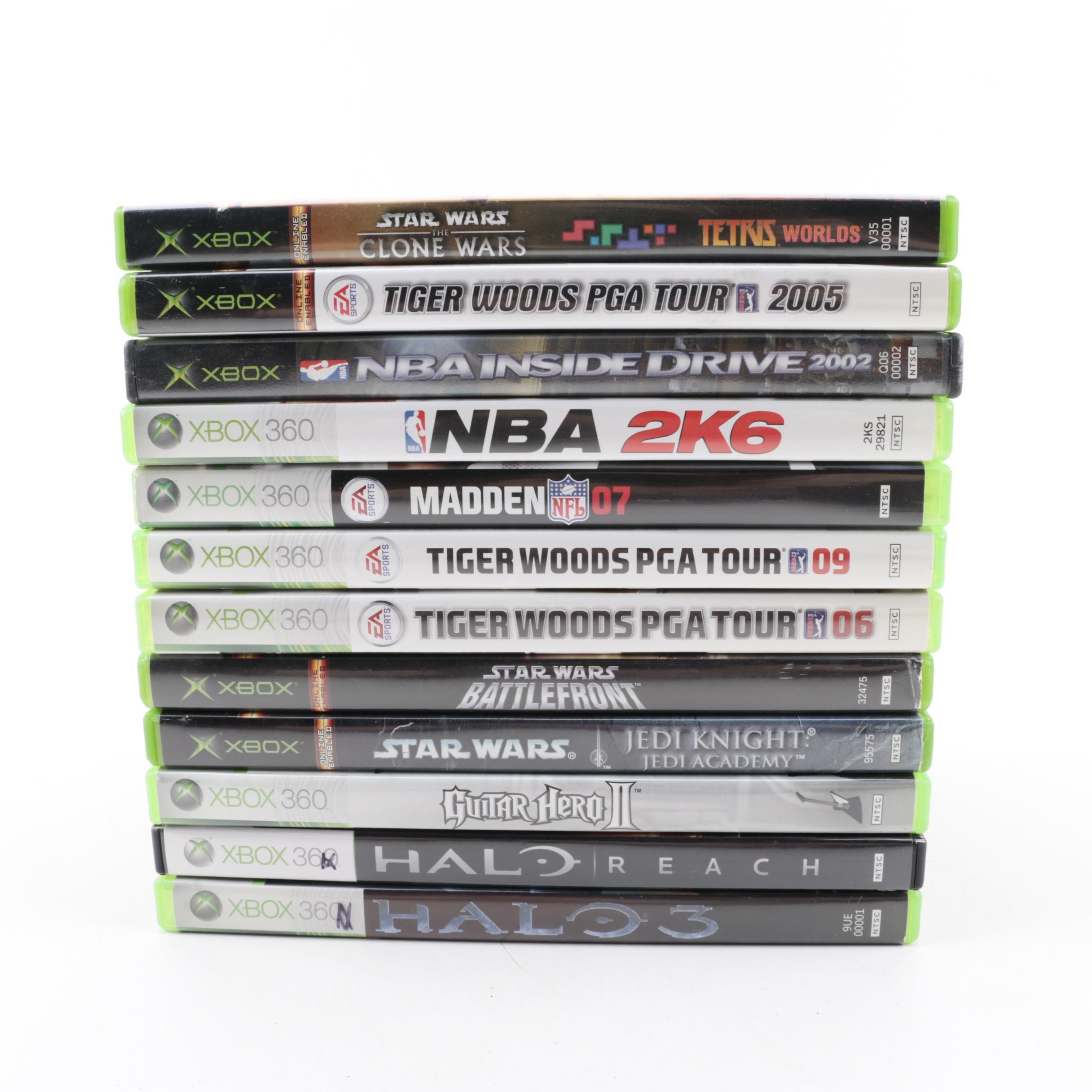 "Xbox 360 and Original Xbox Games including ""Tiger Woods PGA Tour"" and ""Halo 3"""