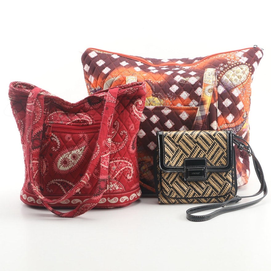 Vera Bradley And Belvah Quilted Shoulder Bags With Nine West Woven Crossbody