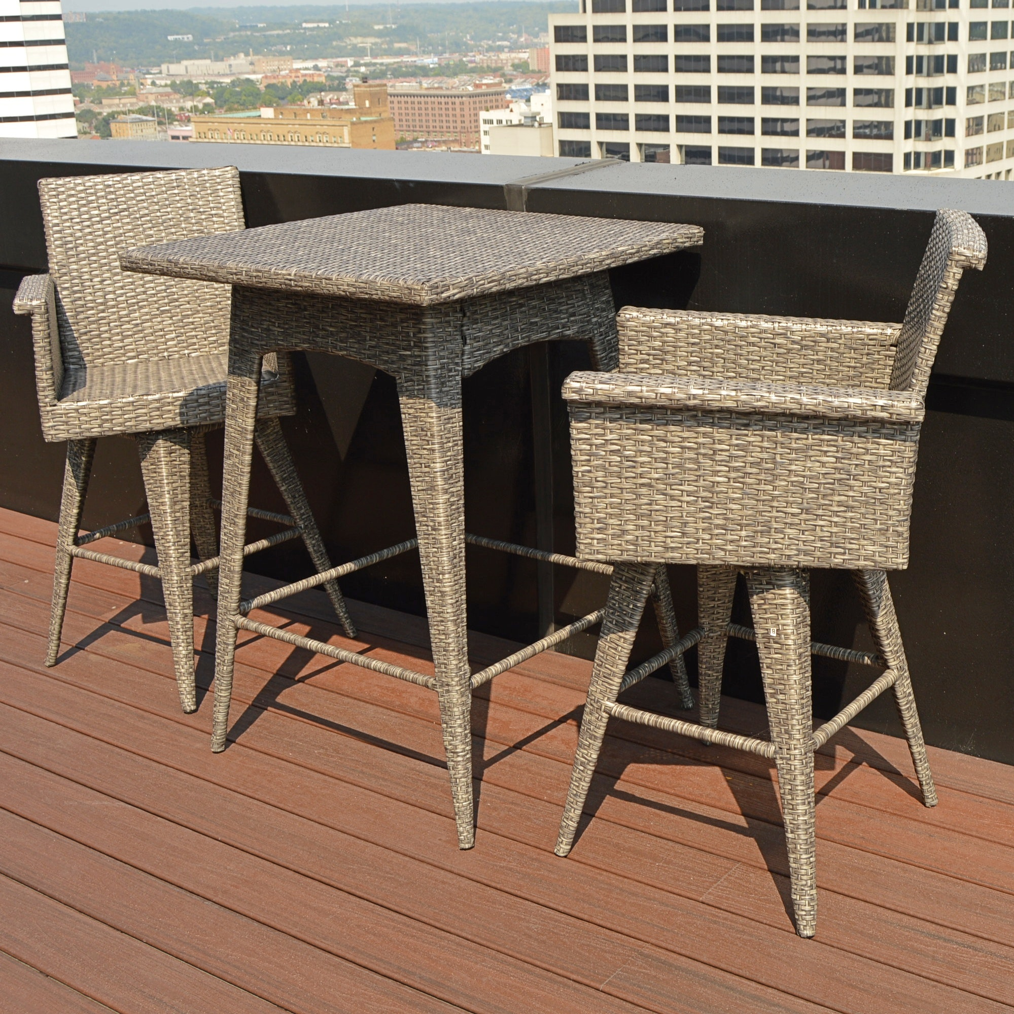 Faux Wicker Bar Height Table and Barstools by Christopher Knight Home
