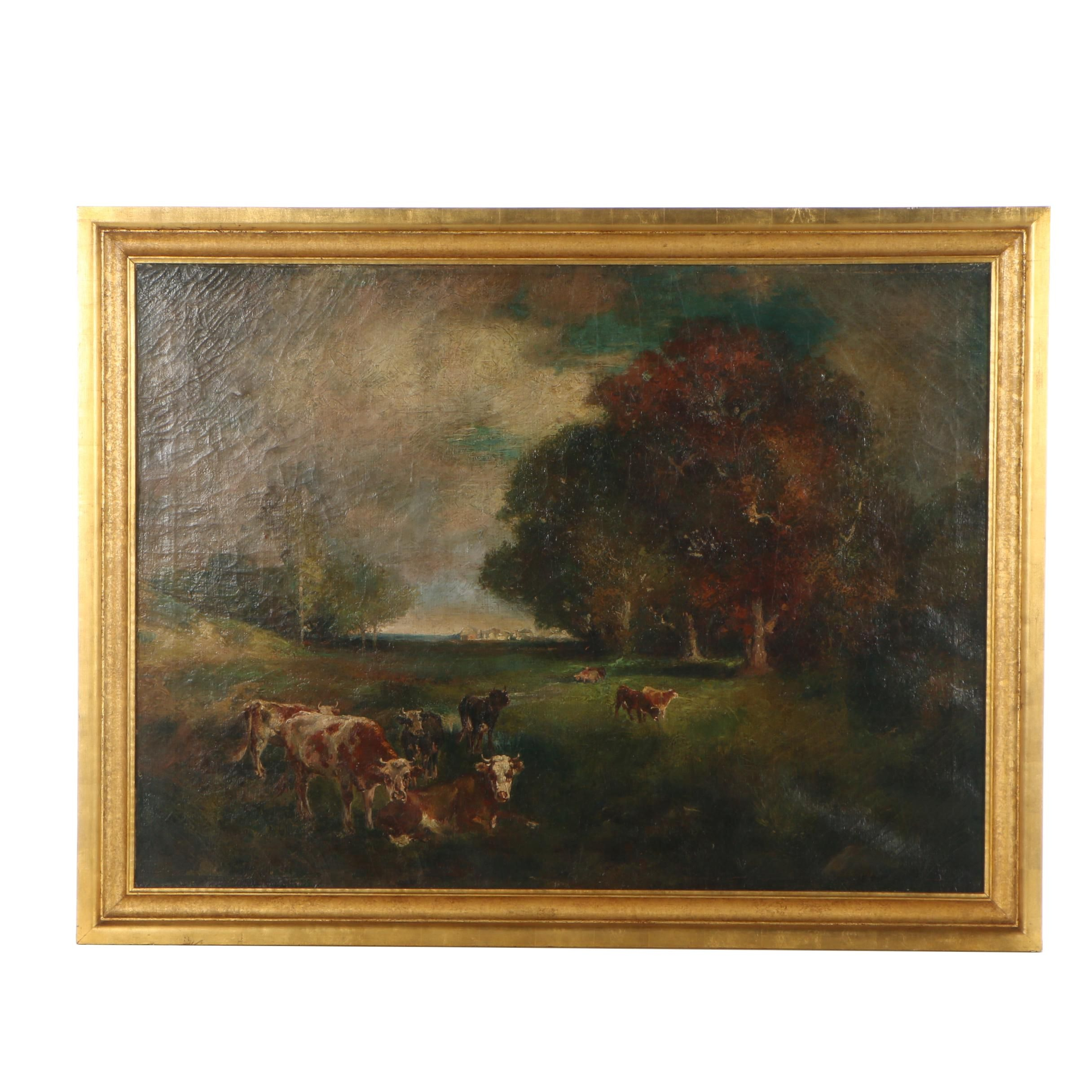 Antique Pastoral Landscape Oil Painting