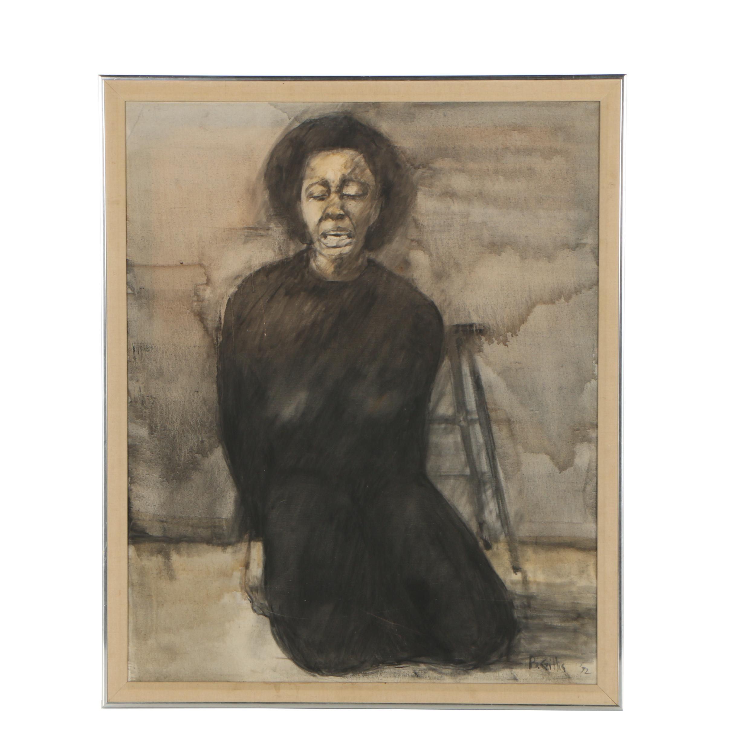 B. Gillis 1972 Acrylic Painting Portrait