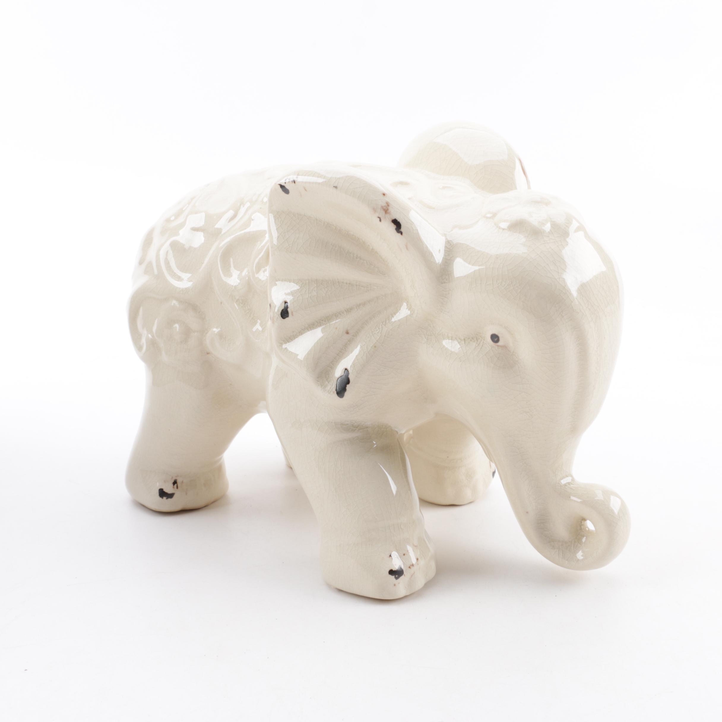 Glazed Ceramic Elephant Figure