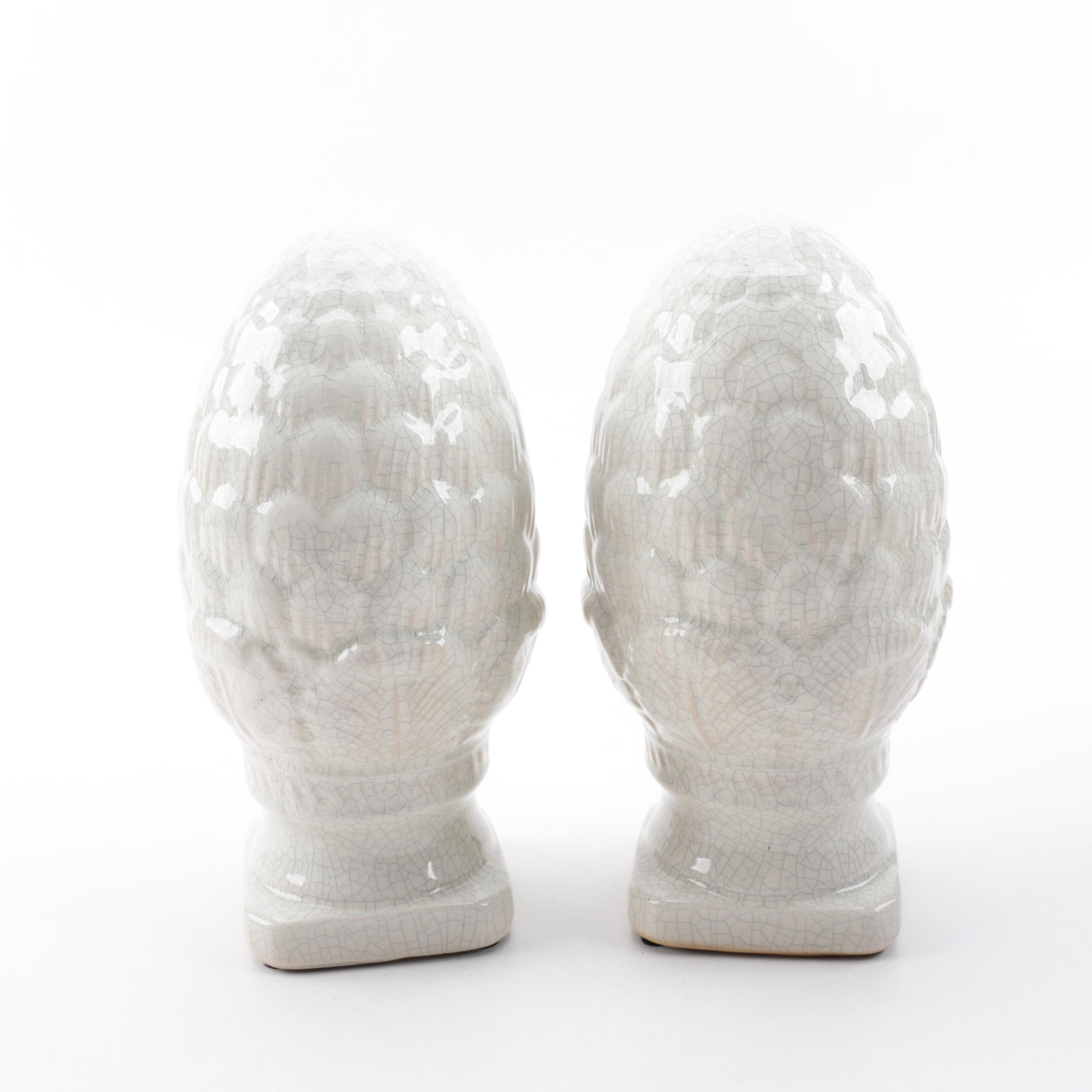 Ceramic Artichoke Finials with Craquelure Glaze