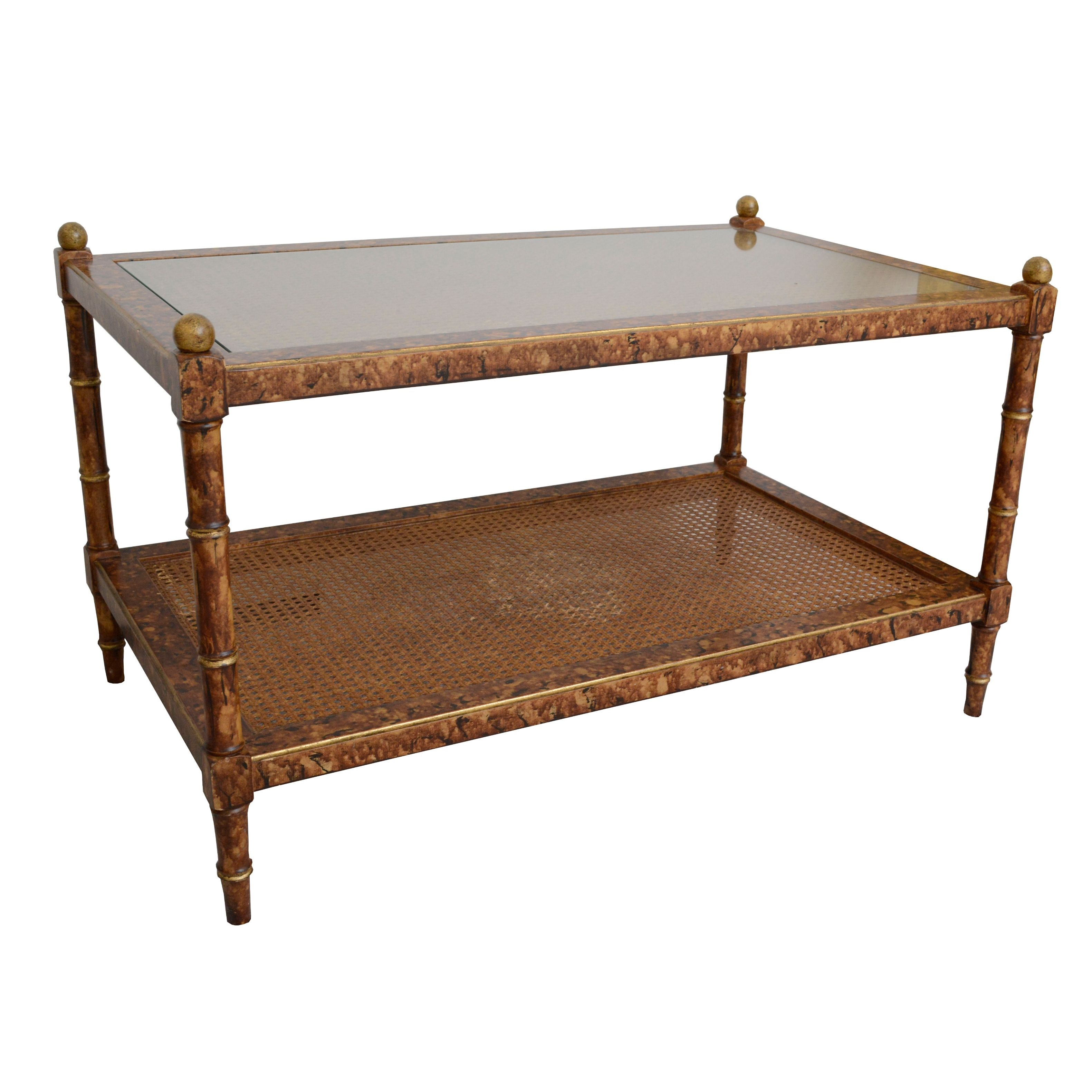 Two Tier Caned Coffee Table